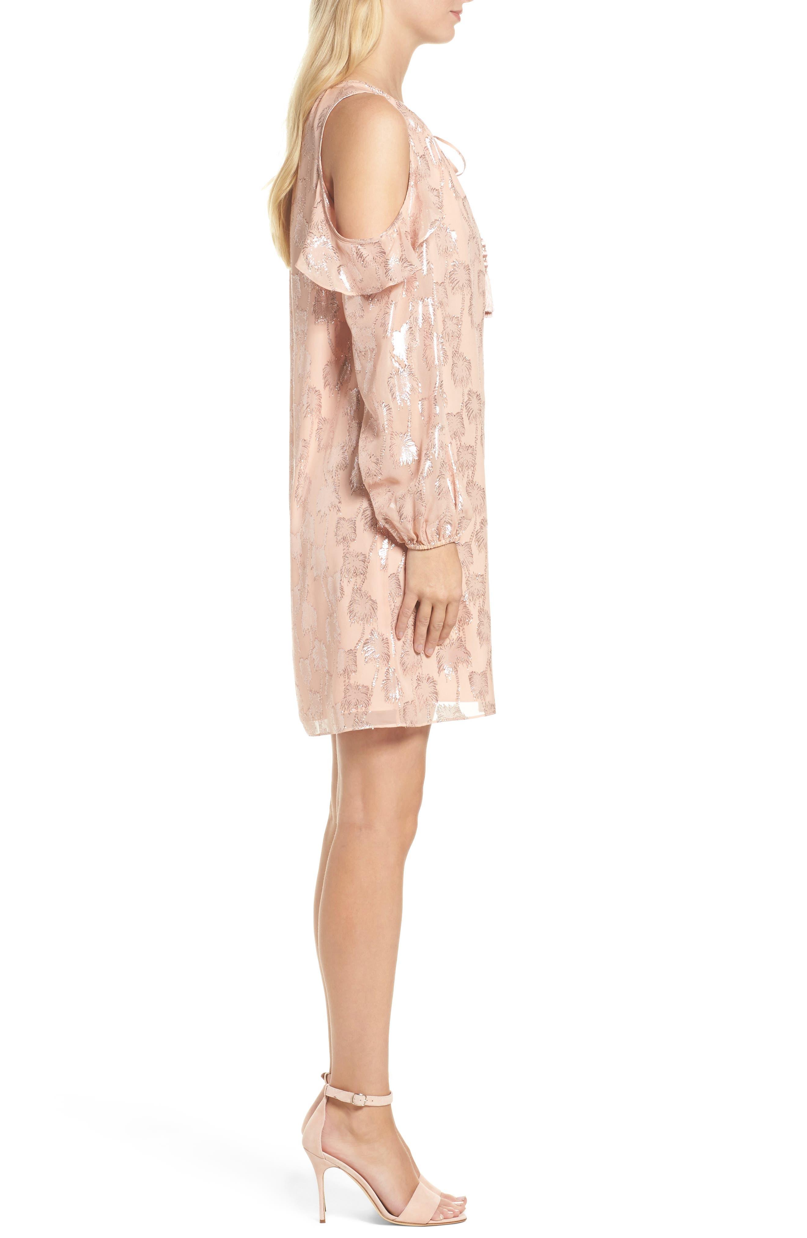 Marlyse Cold Shoulder Silk Dress,                             Alternate thumbnail 3, color,