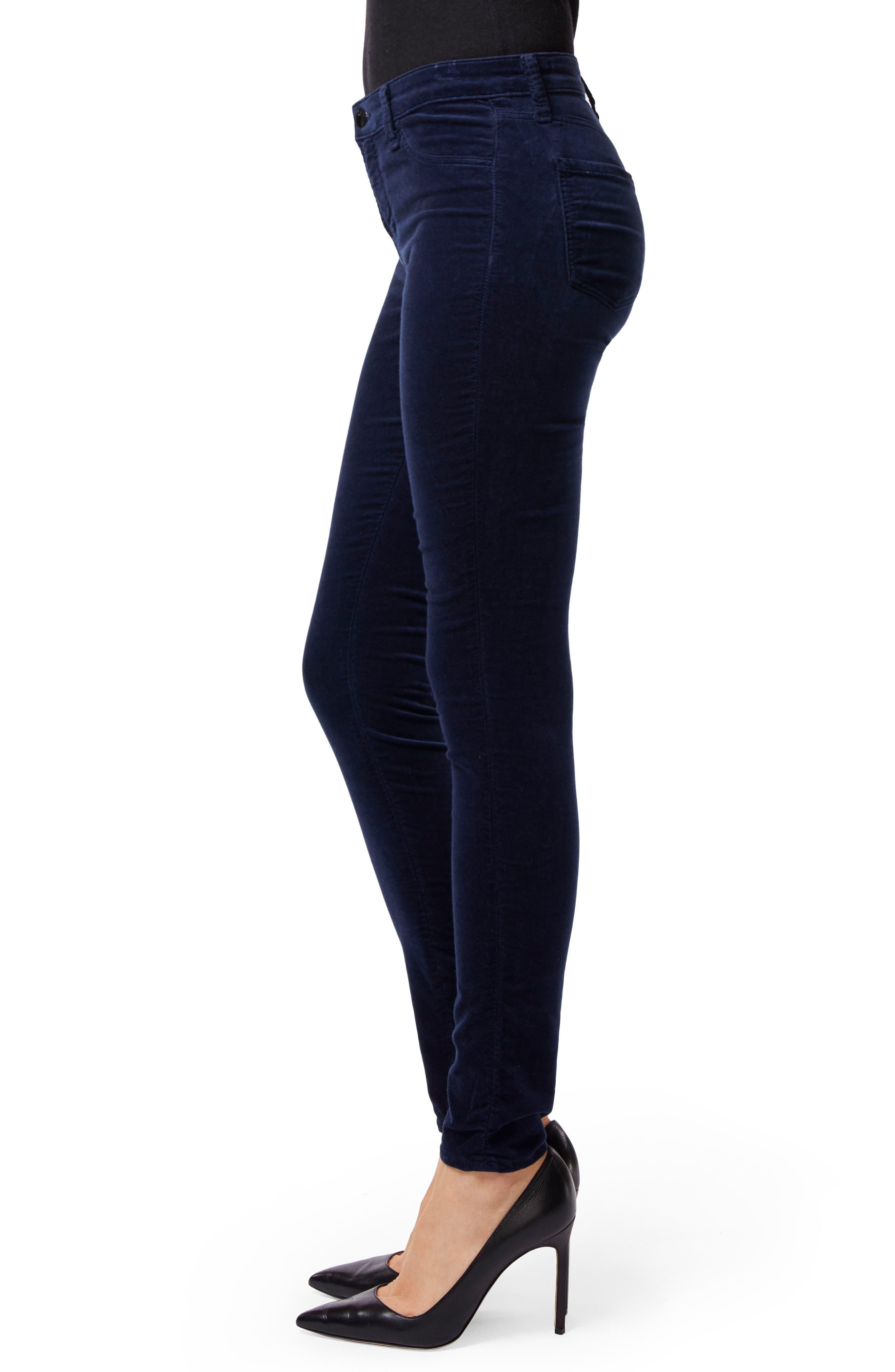Maria High Waist Velvet Skinny Jeans,                             Alternate thumbnail 3, color,                             NIGHT OUT