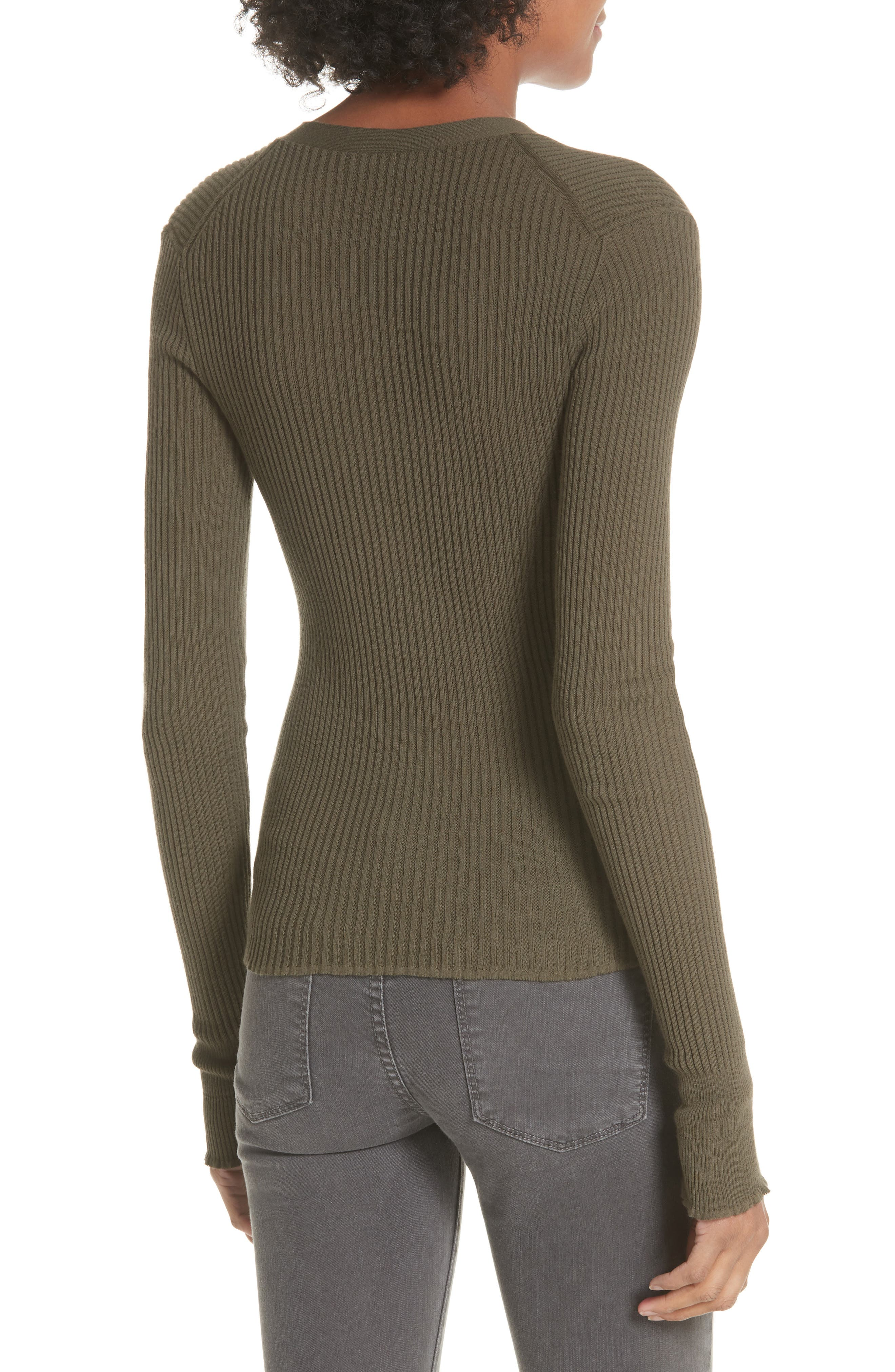 Ribbed Lettuce Cuff Cotton Cardigan,                             Alternate thumbnail 4, color,