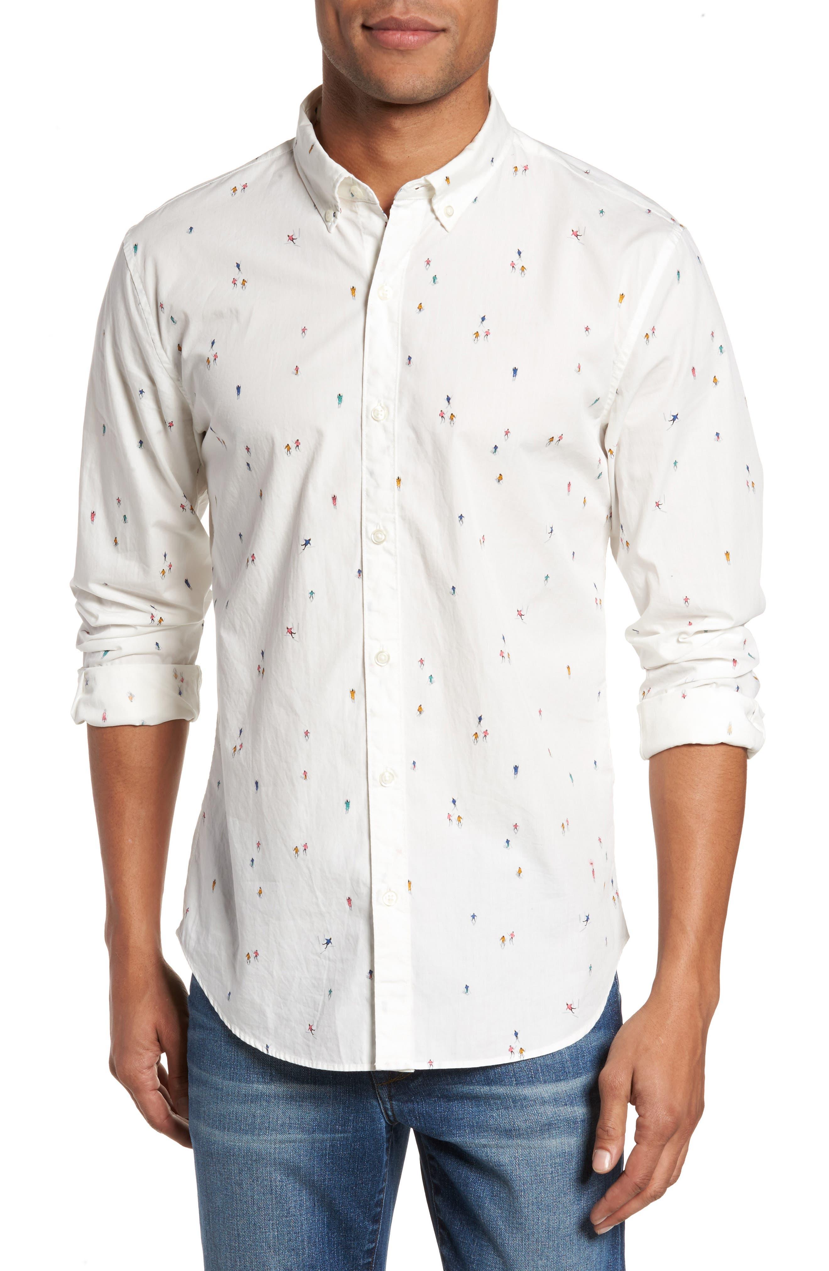 Slim Fit Skier Print Sport Shirt,                             Main thumbnail 1, color,                             100