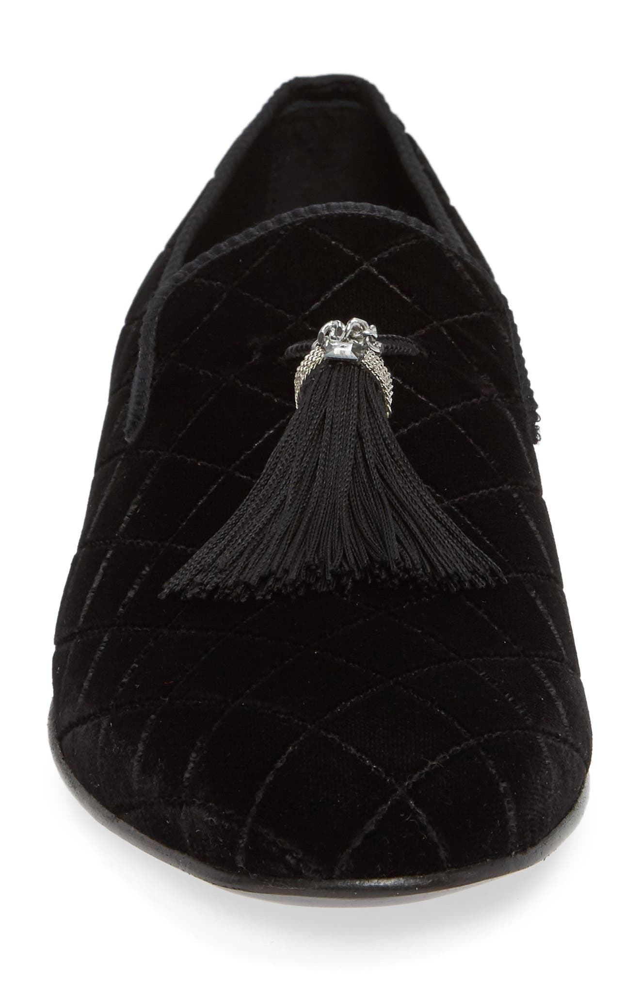 Quilted Tassel Loafer,                             Alternate thumbnail 4, color,                             BLACK FABRIC