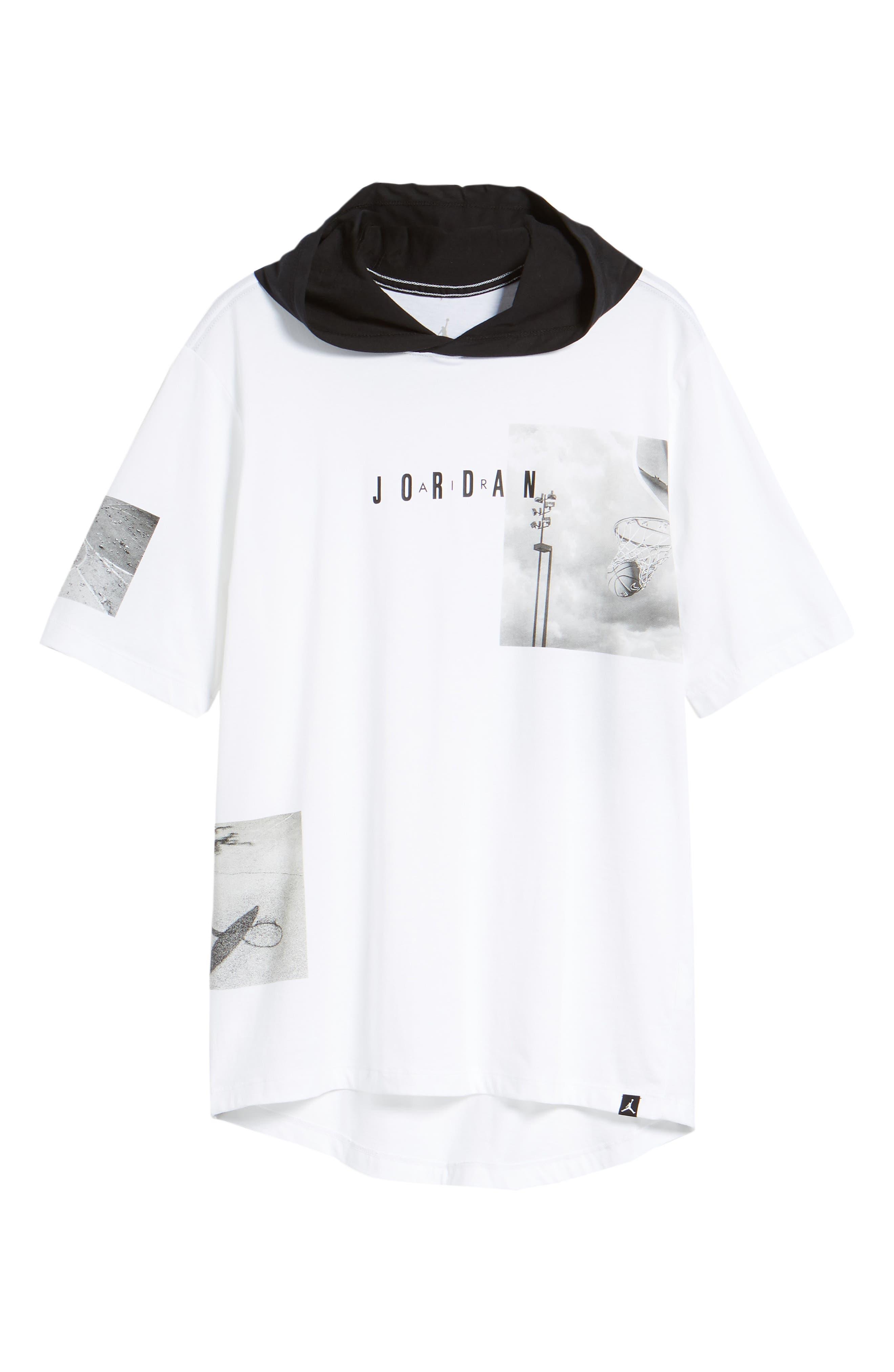 Modern Photo Hooded T-Shirt,                             Alternate thumbnail 6, color,                             WHITE/ BLACK