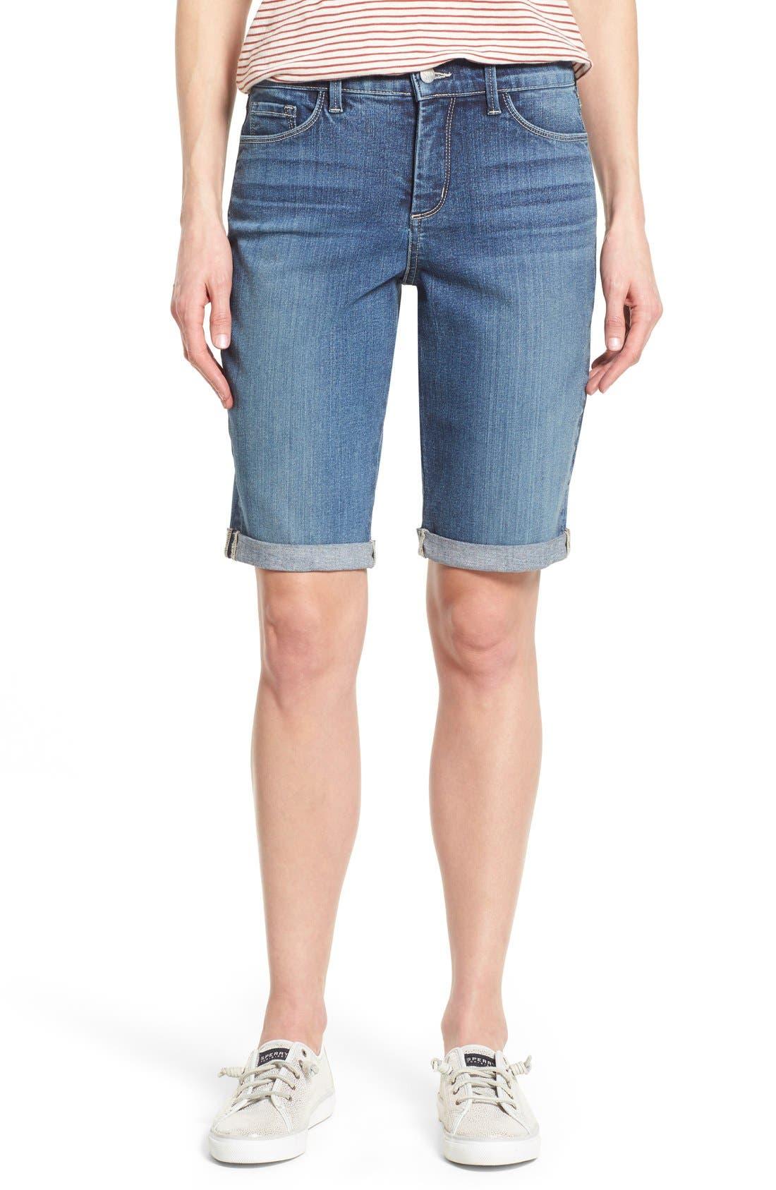 Briella Roll Cuff Stretch Denim Shorts,                             Main thumbnail 1, color,