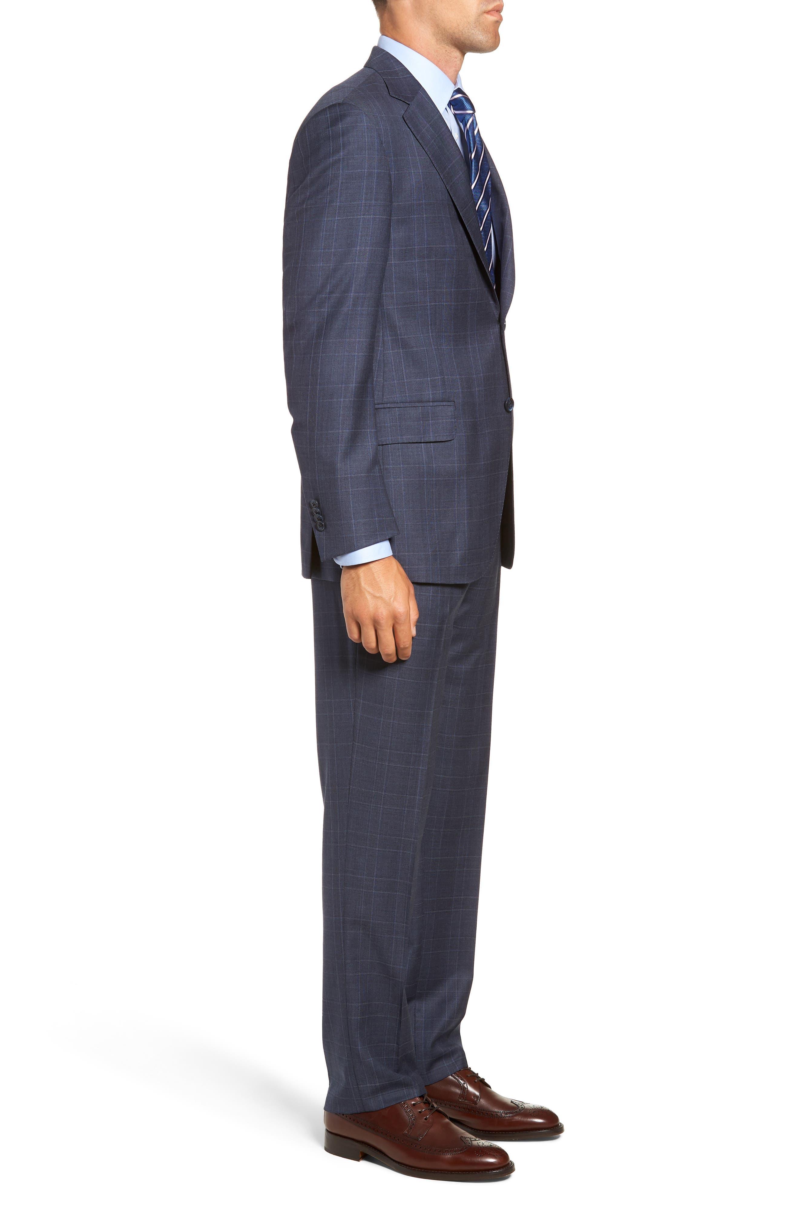 Flynn Classic Fit Plaid Wool Suit,                             Alternate thumbnail 3, color,                             BLUE