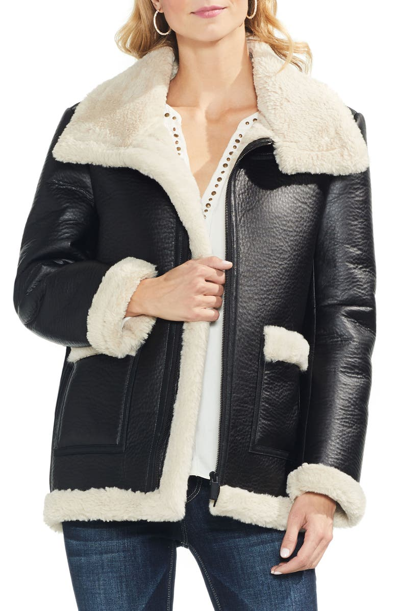 e3a1ff48619 Vince Camuto Faux Leather Shearling Coat (Regular   Petite)