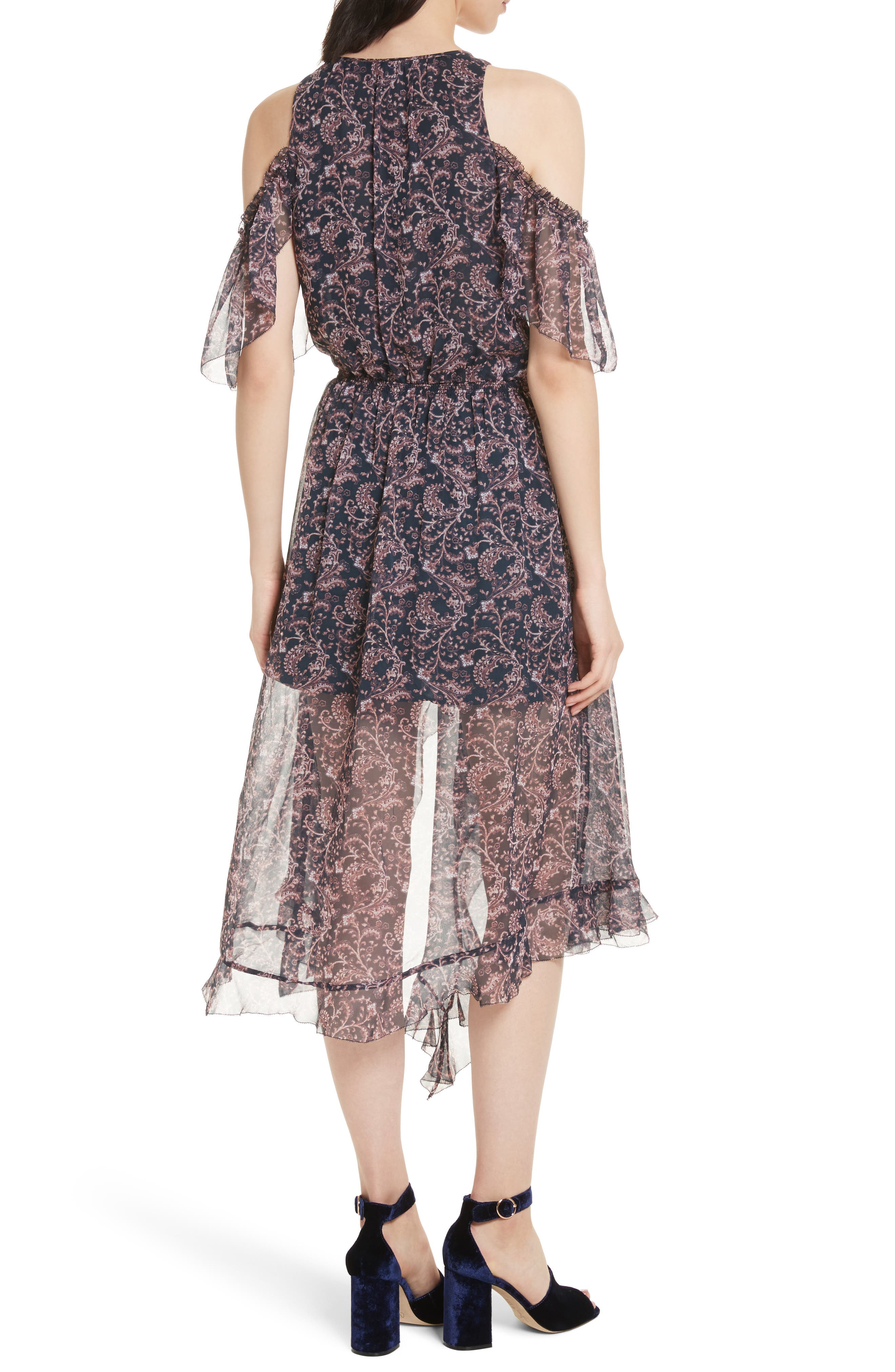 Agnek Cold Shoulder Silk Dress,                             Alternate thumbnail 2, color,                             694