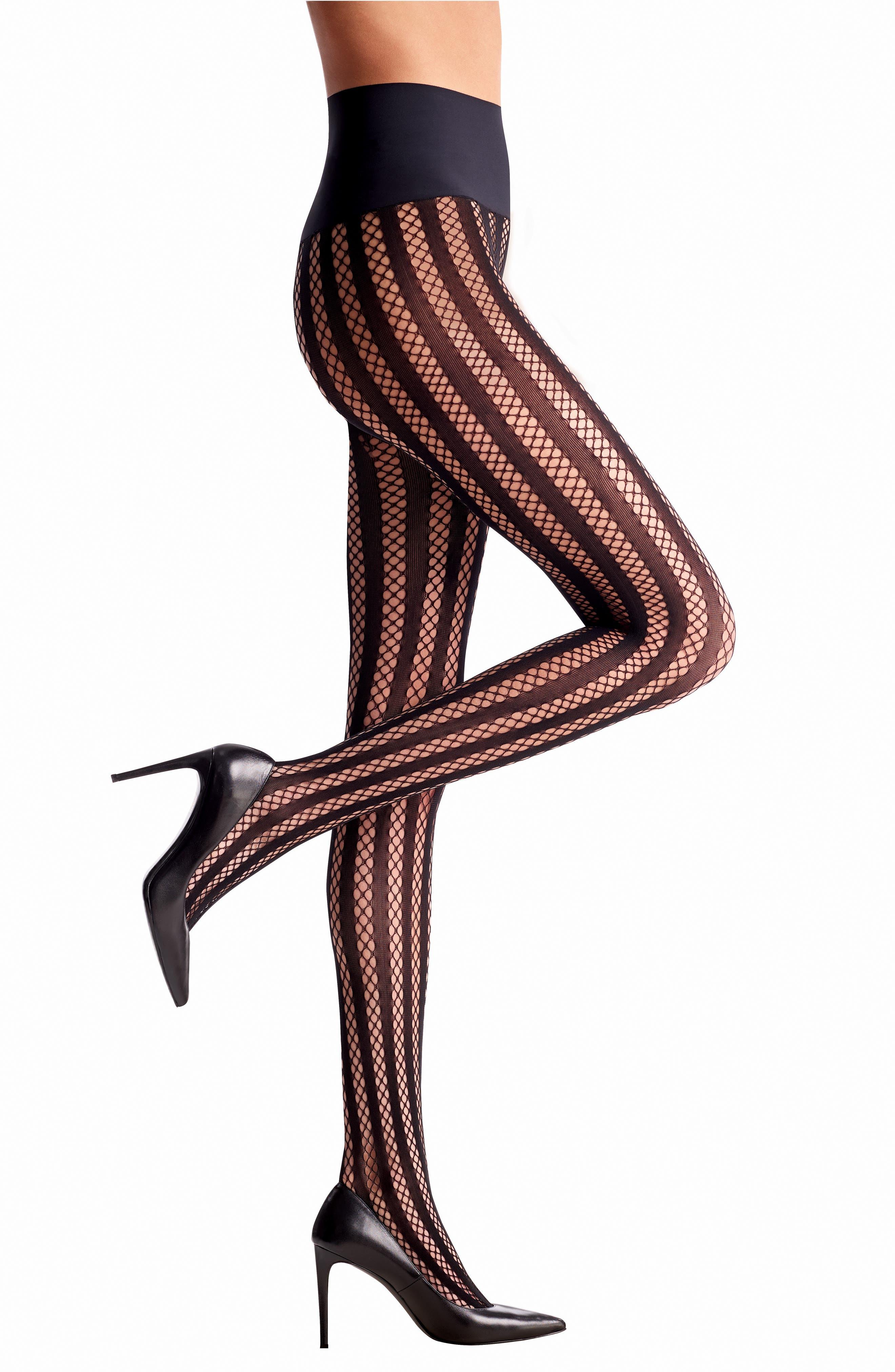 Bold Stripe Fishnet Tights,                             Main thumbnail 1, color,                             BLACK