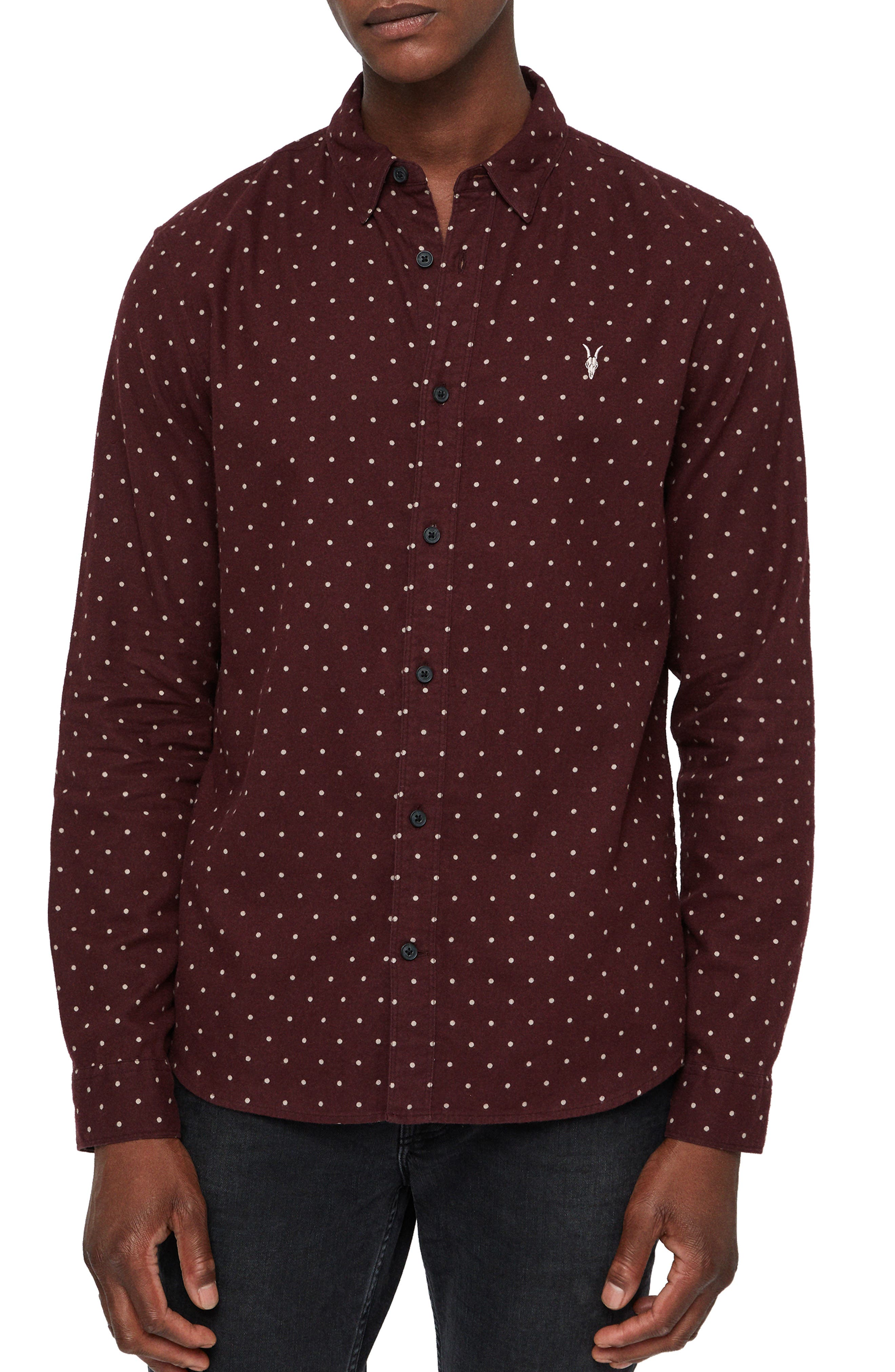 Bethel Slim Fit Dot Flannel Shirt,                         Main,                         color, DARK RUST/ ECRU