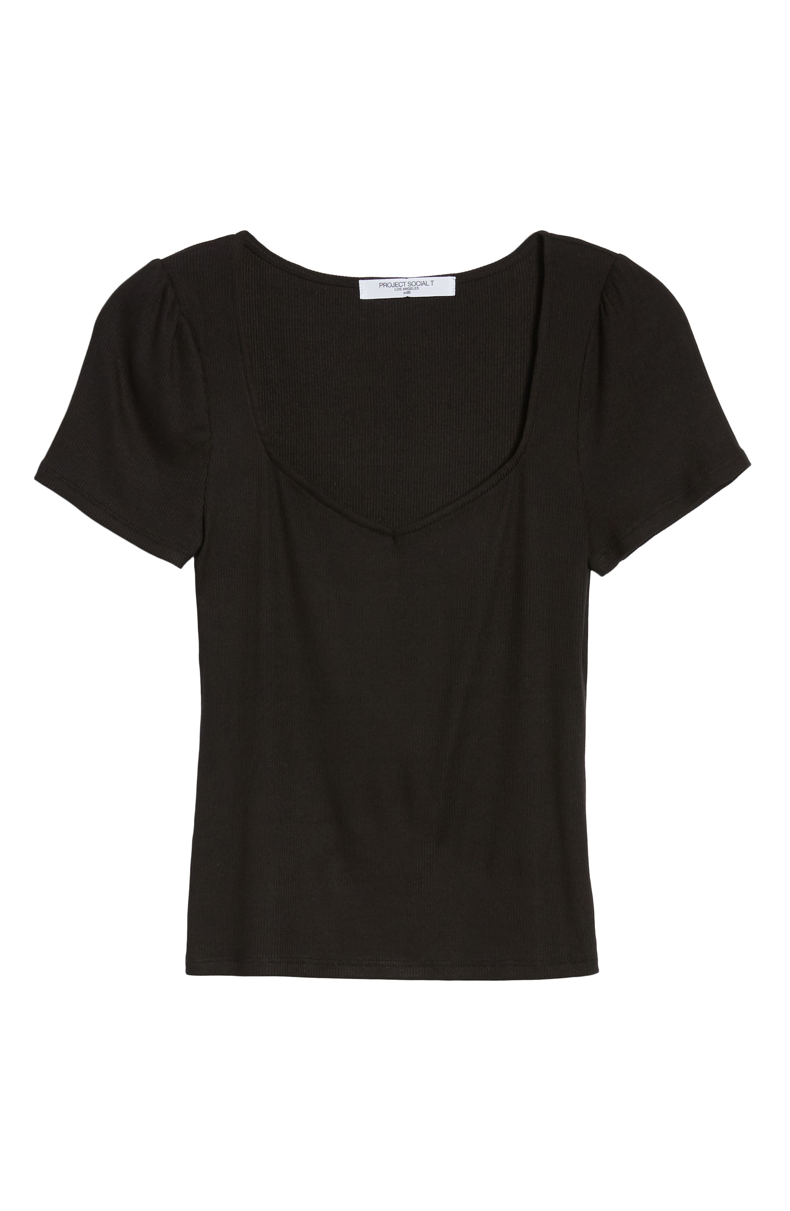 PROJECT SOCIAL T,                             PST by Project Social T Femme Ribbed Tee,                             Alternate thumbnail 6, color,                             001