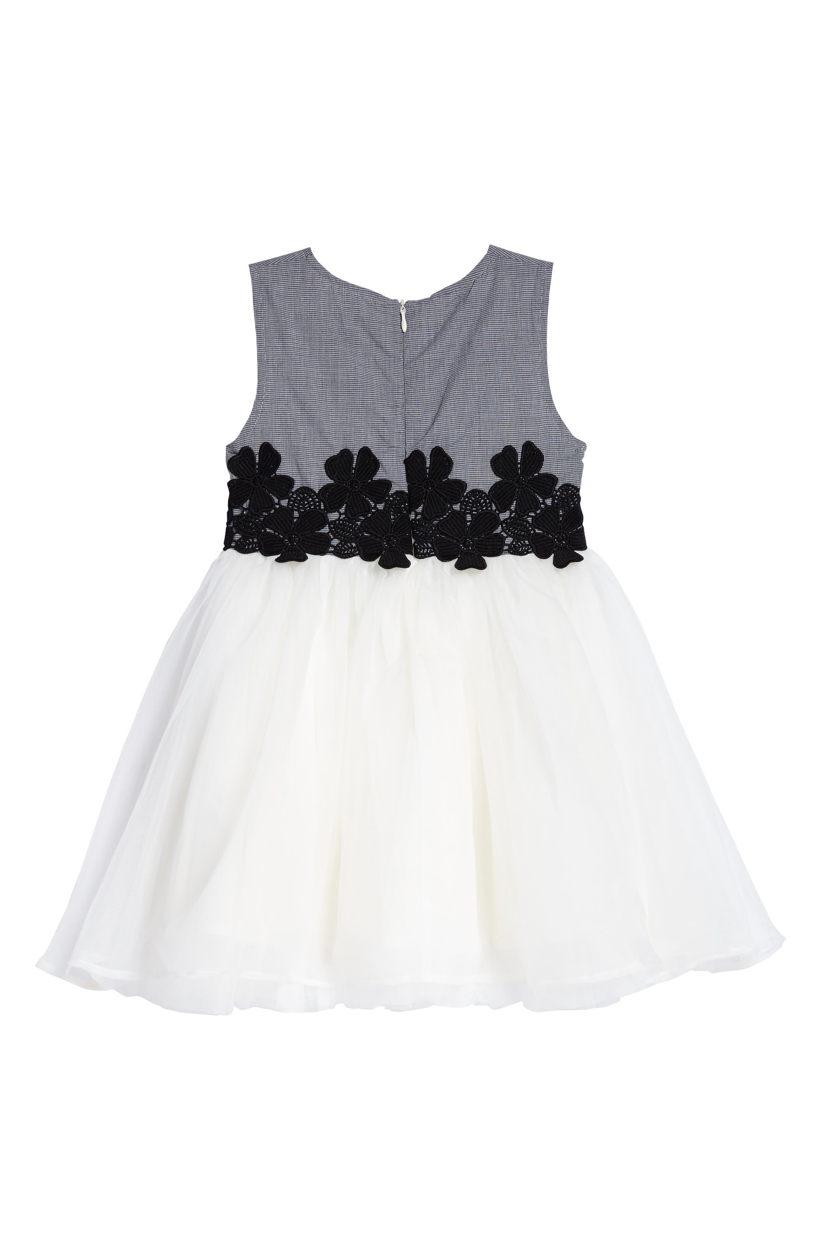 Mini Houndstooth & Tulle Dress,                             Alternate thumbnail 2, color,                             001