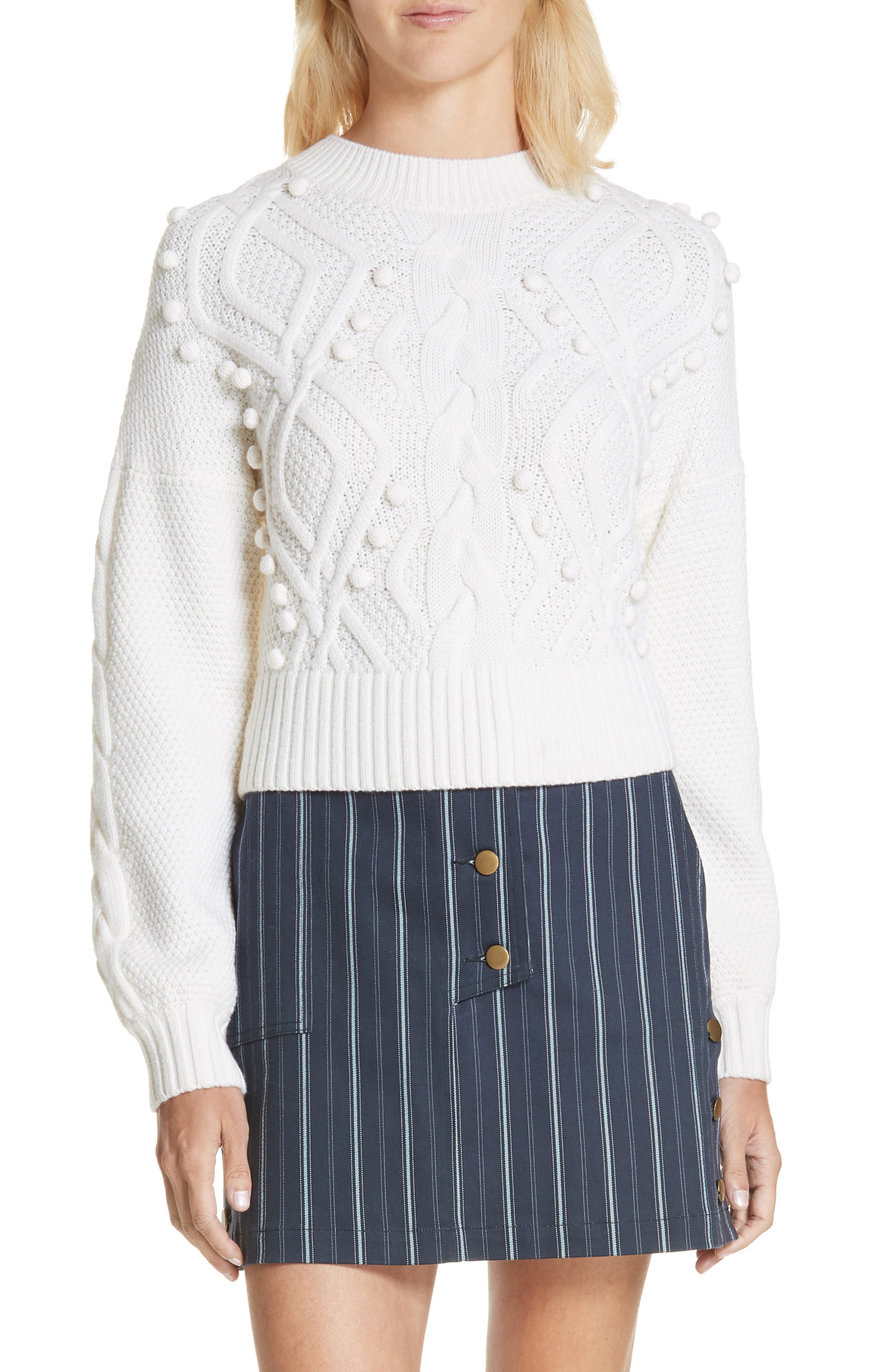 Amur Brie Cabled Merino Wool Sweater, Ivory