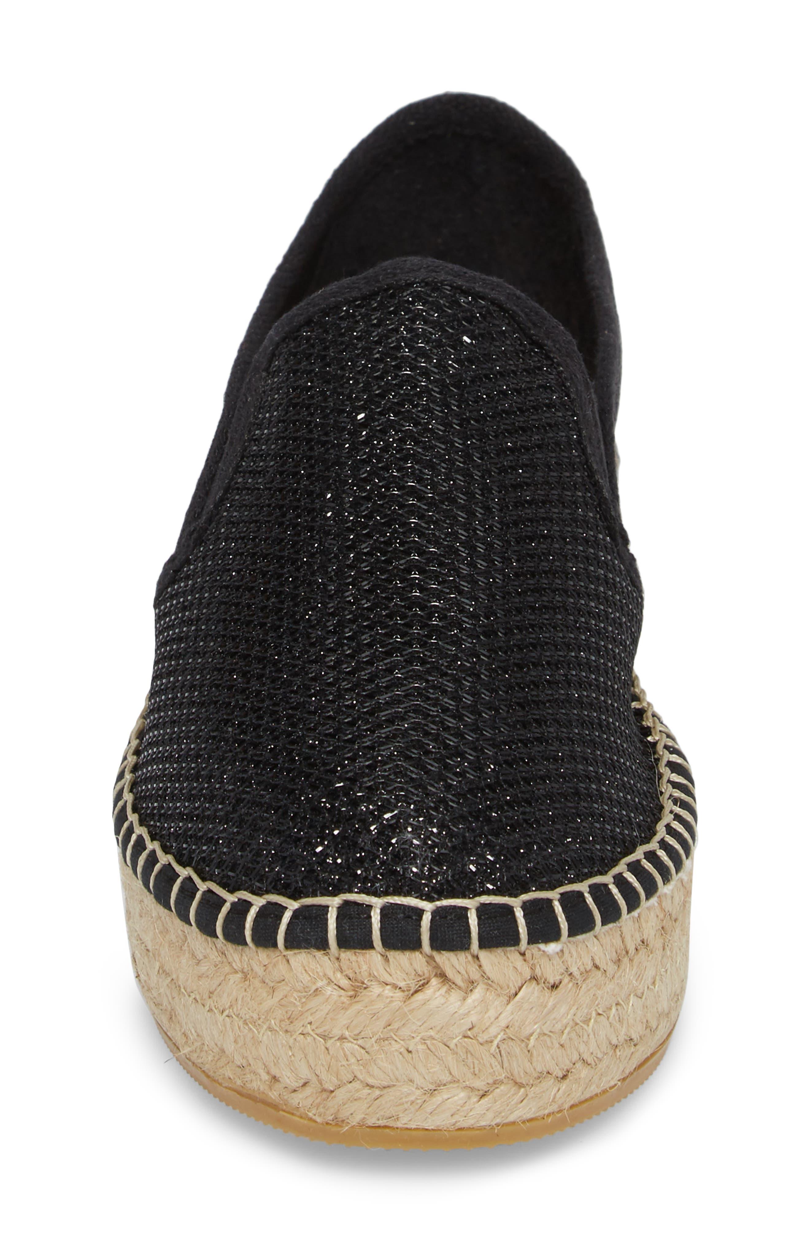 Fonda Platform Espadrille Sneaker,                             Alternate thumbnail 4, color,                             BLACK FABRIC