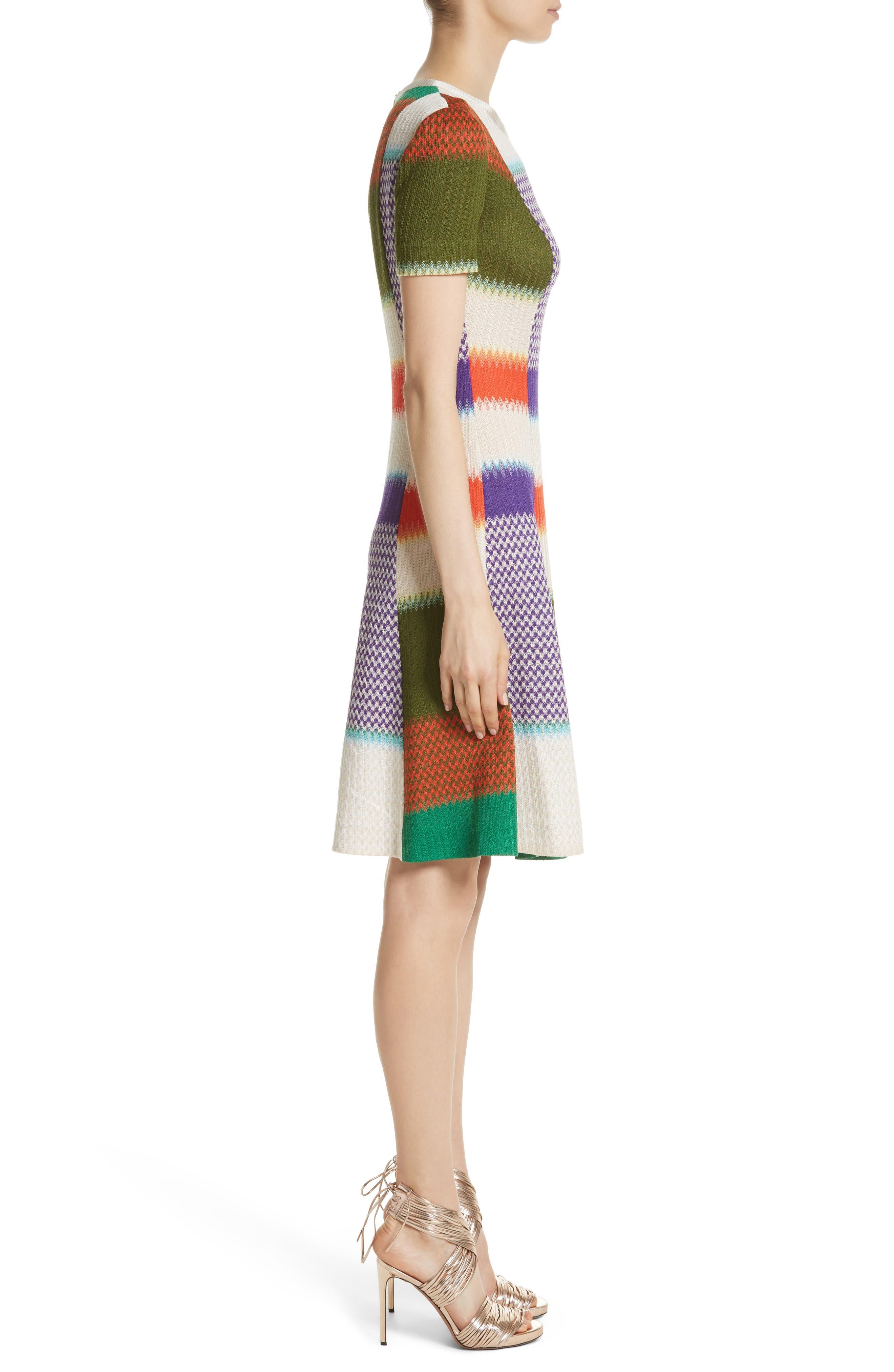 Multi Knit Flare Dress,                             Alternate thumbnail 3, color,                             540
