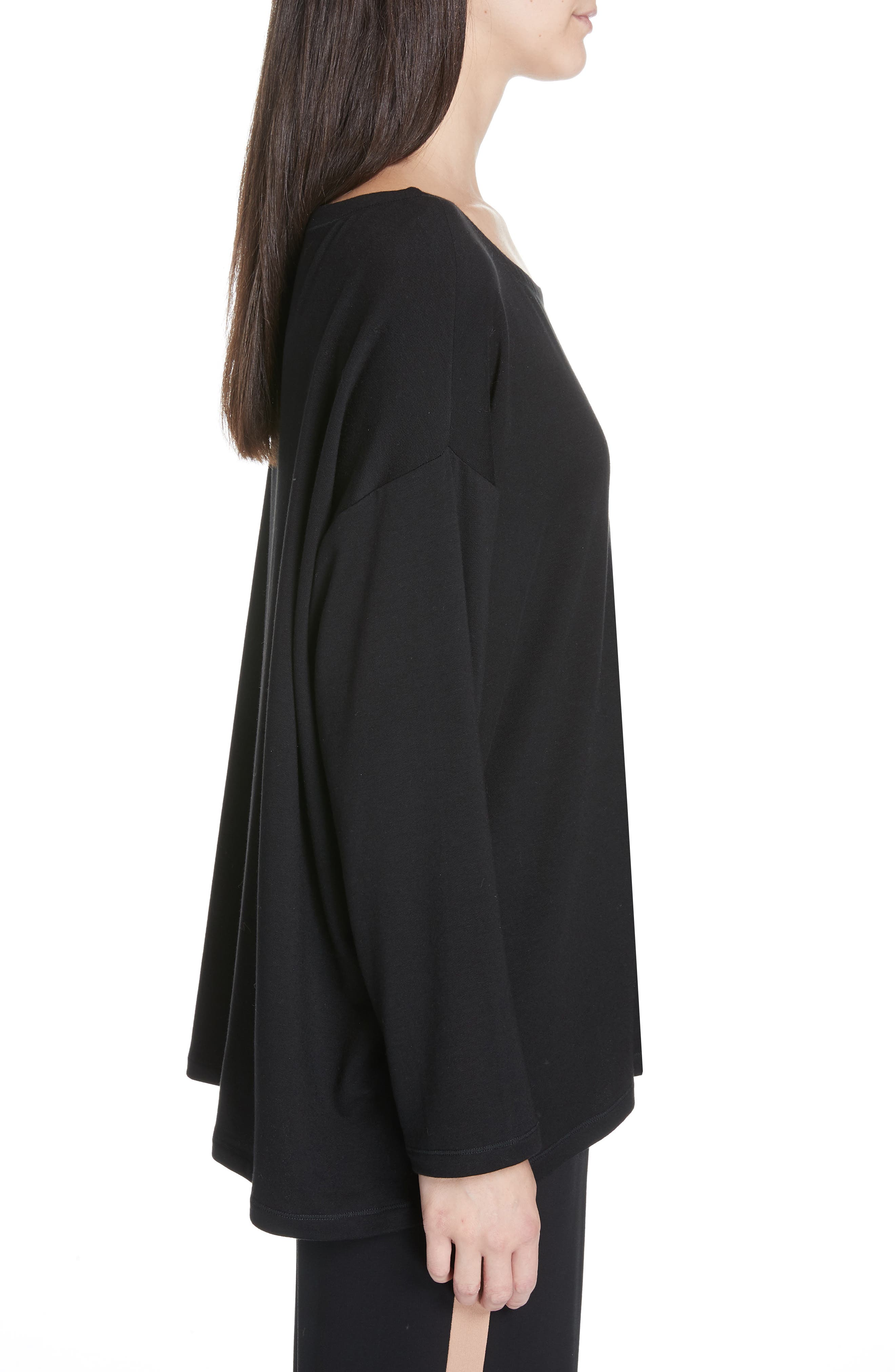 EILEEN FISHER, Stretch Terry Top, Alternate thumbnail 3, color, BLACK