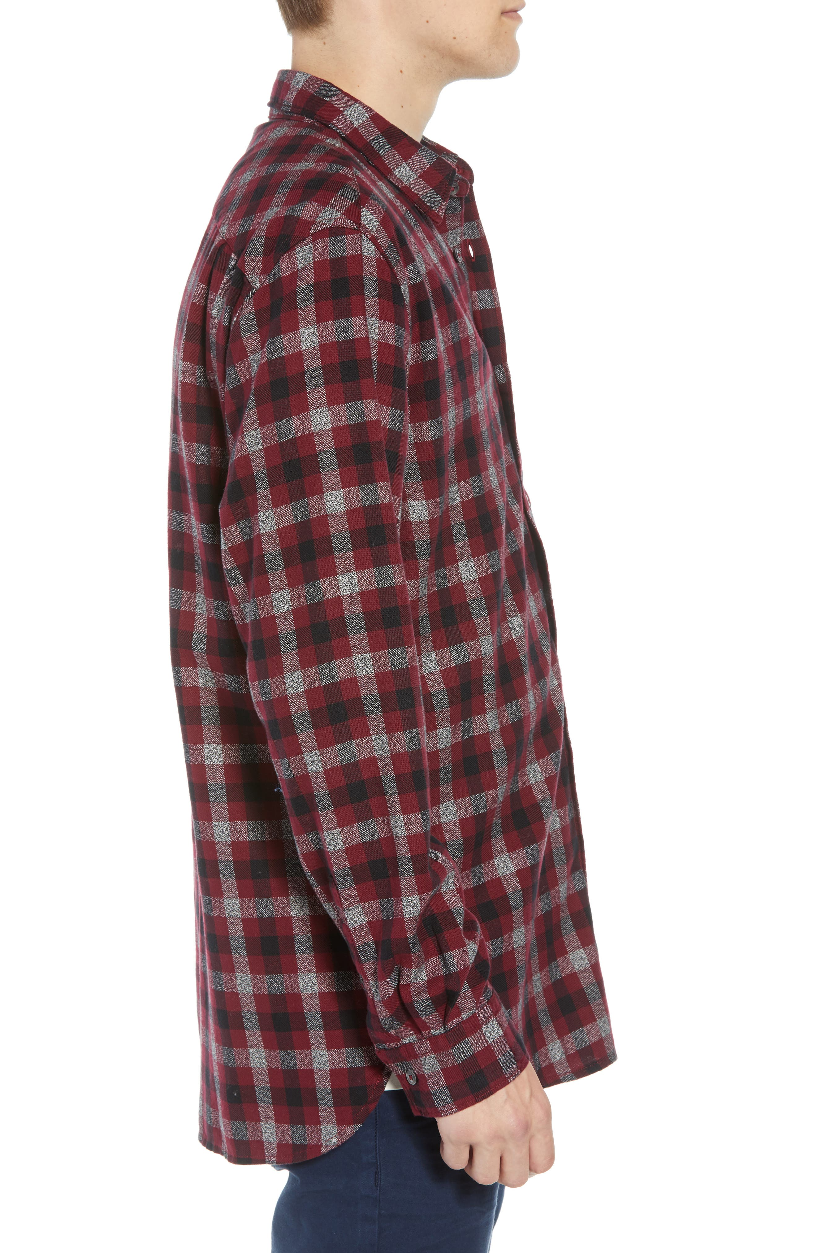Regular Fit Dobby Check Shirt,                             Alternate thumbnail 4, color,                             RASPBERRY BERET