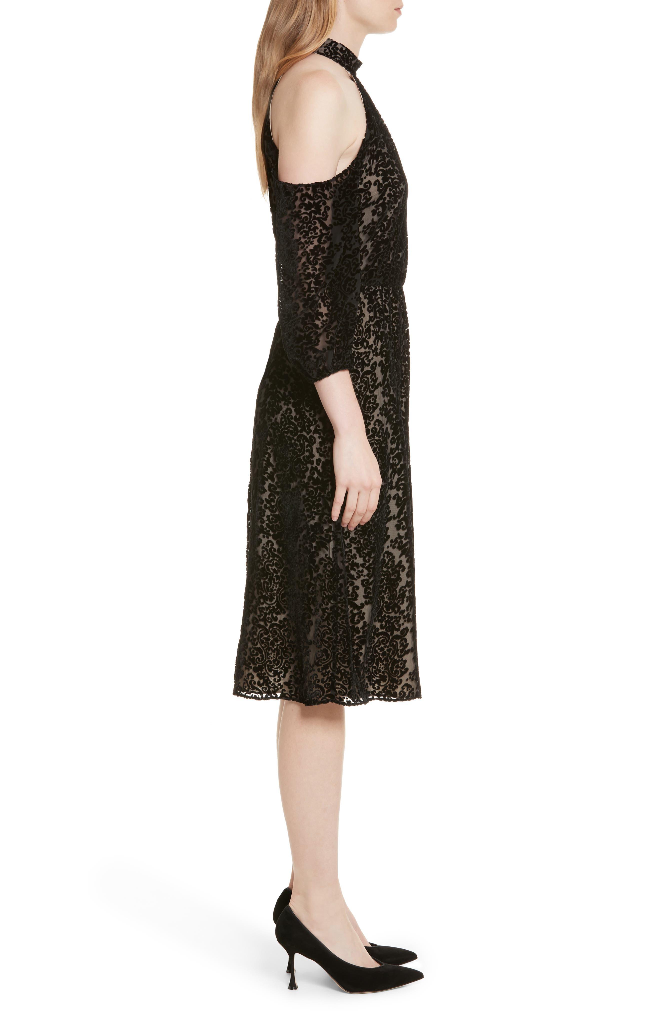 Ruthann Cold Shoulder Burnout Velvet Dress,                             Alternate thumbnail 3, color,                             001