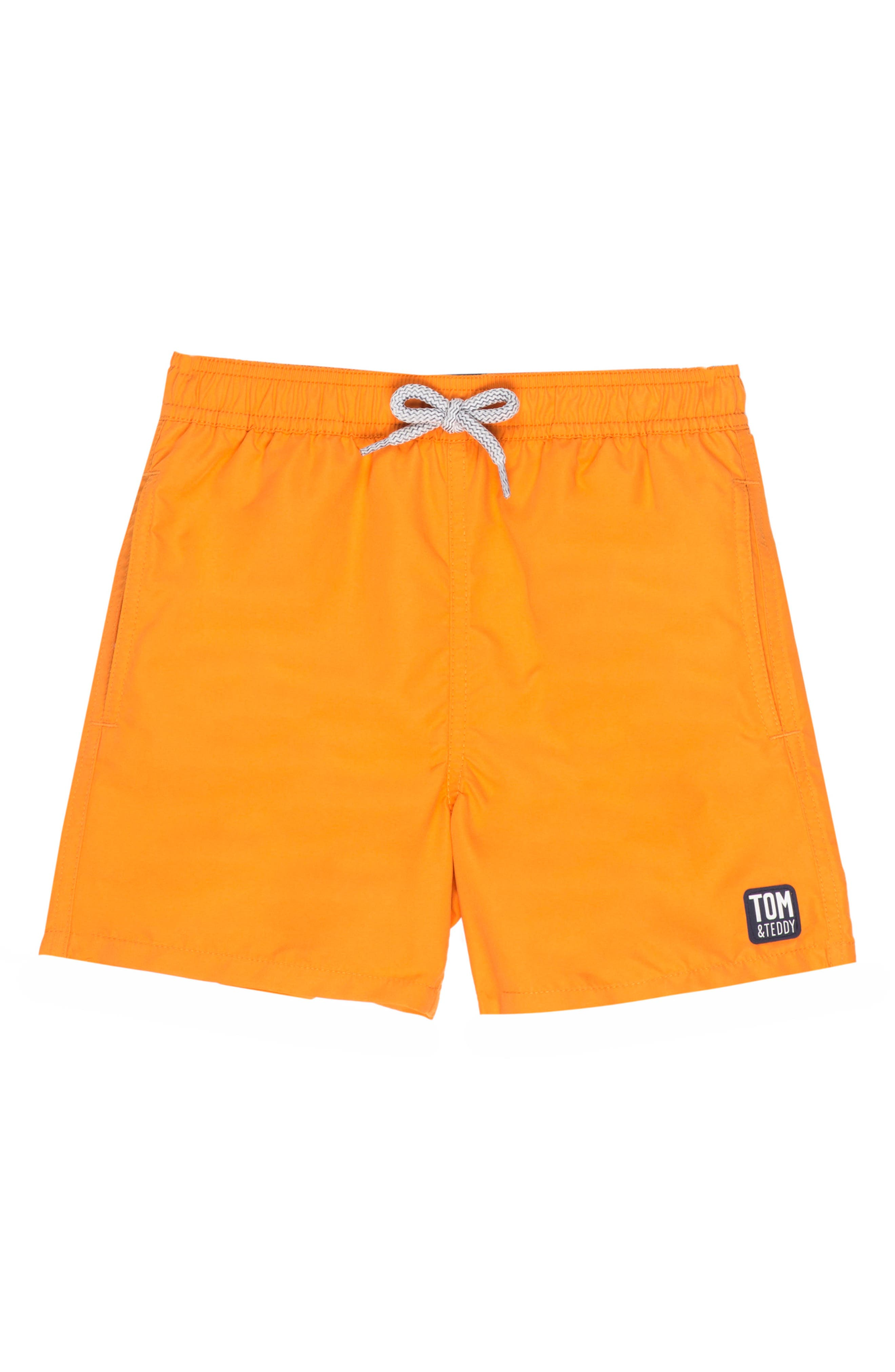 Solid Swim Trunks,                             Alternate thumbnail 2, color,                             BAKED ORANGE