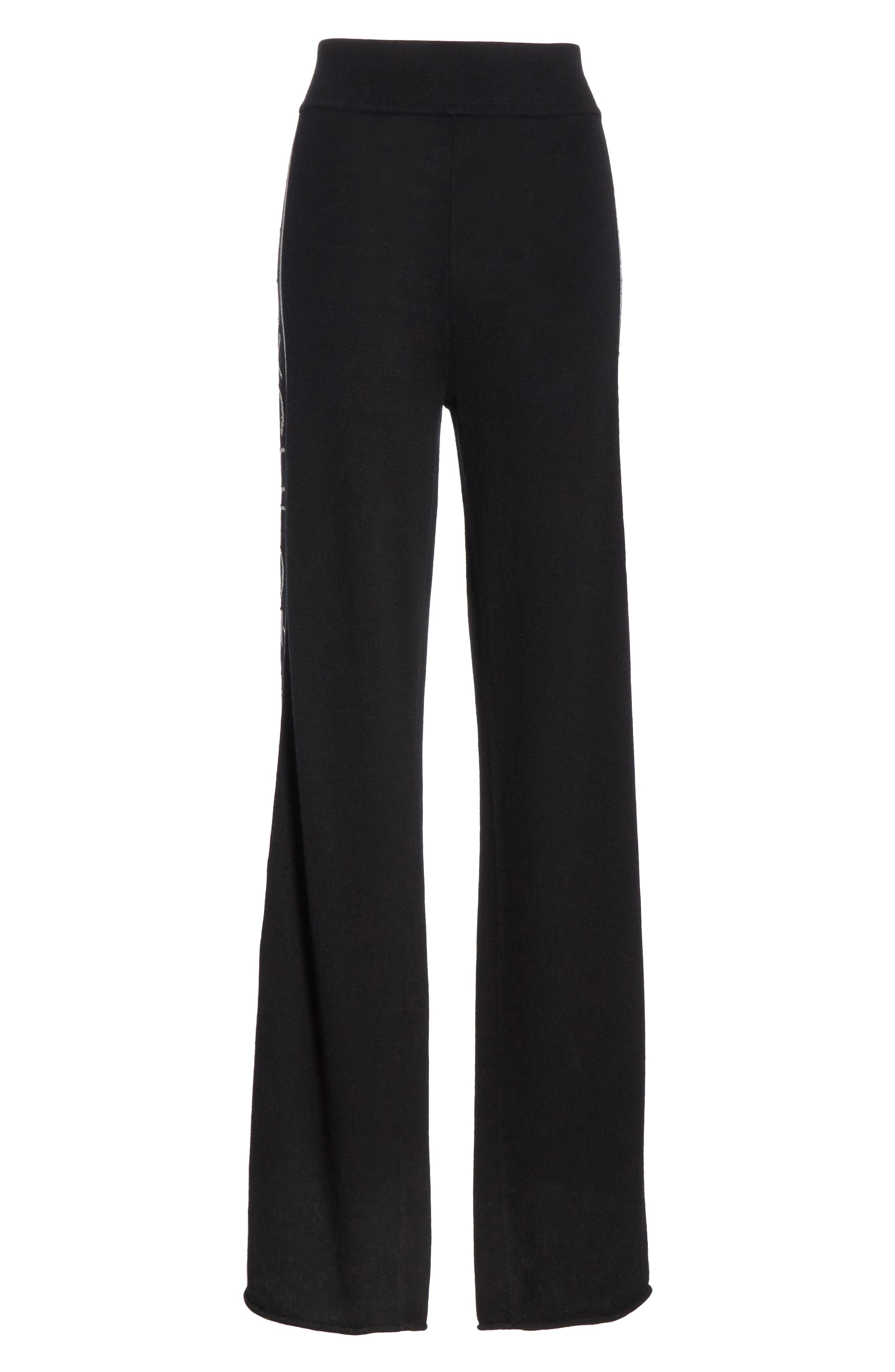 Metallic Knit Wool Blend Trousers,                             Alternate thumbnail 6, color,                             BLACK