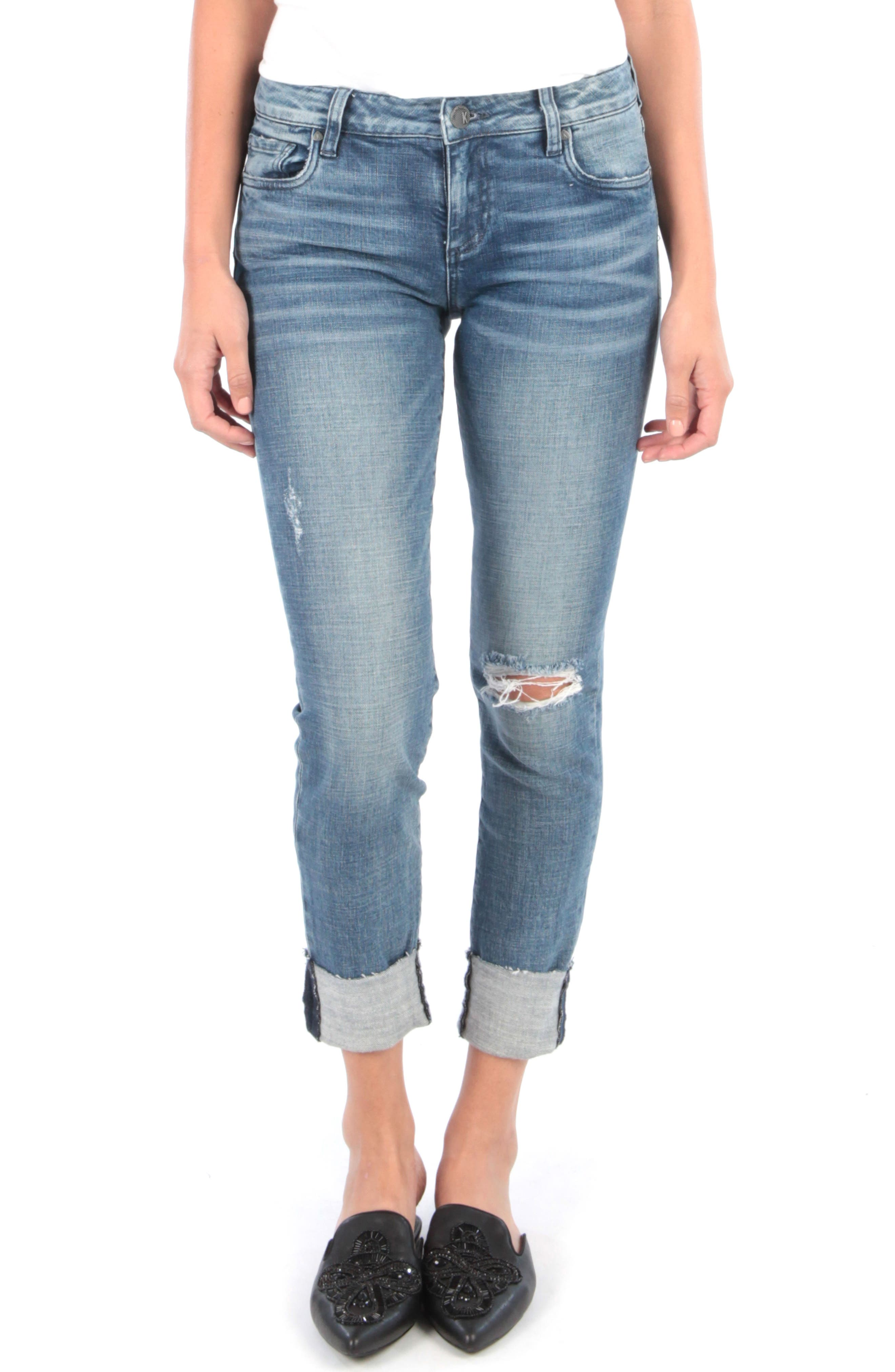 Kut From The Kloth Catherine Ripped Boyfriend Jeans, Blue