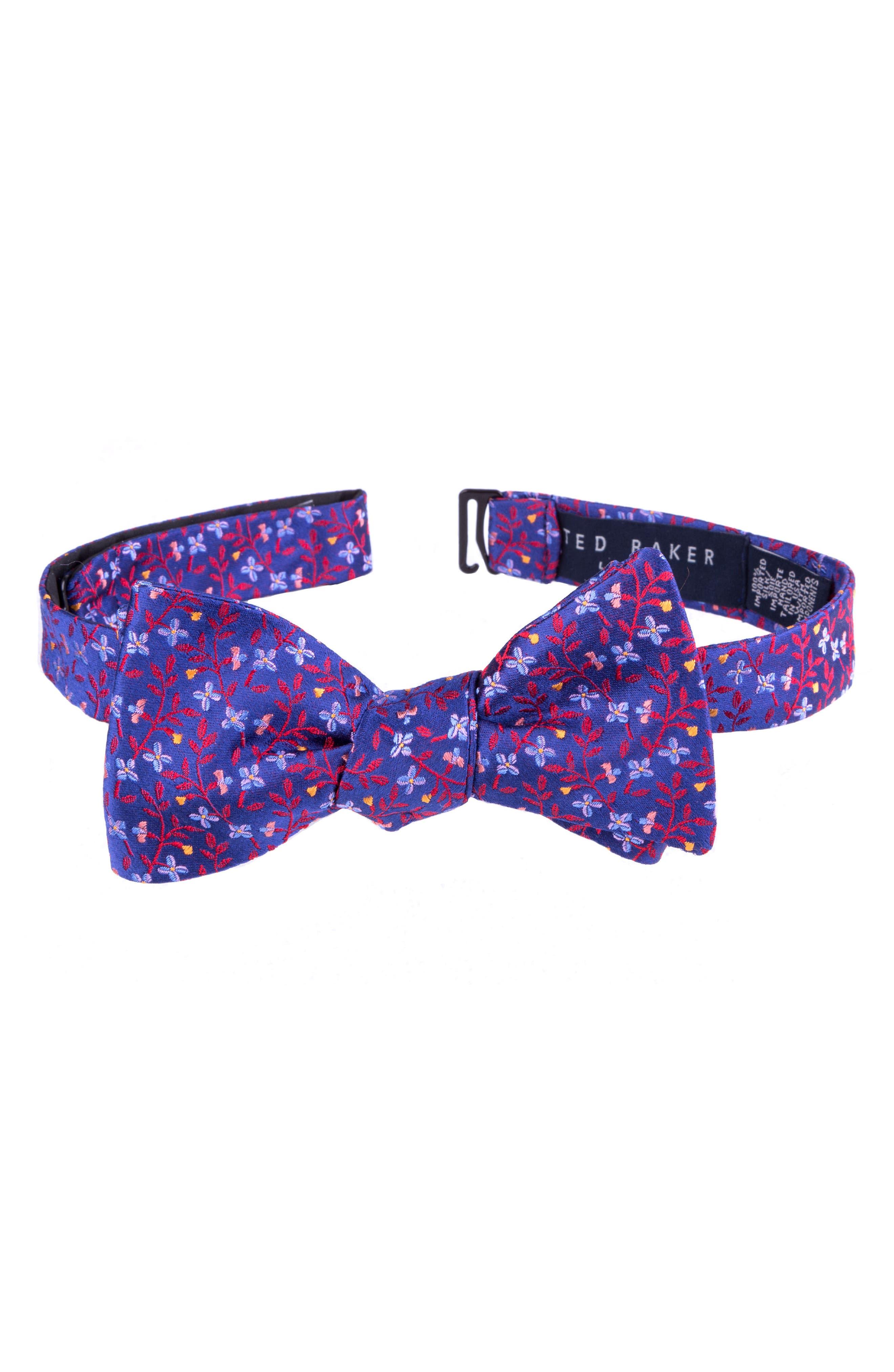 Vine Botanical Silk Bow Tie,                         Main,                         color, RED