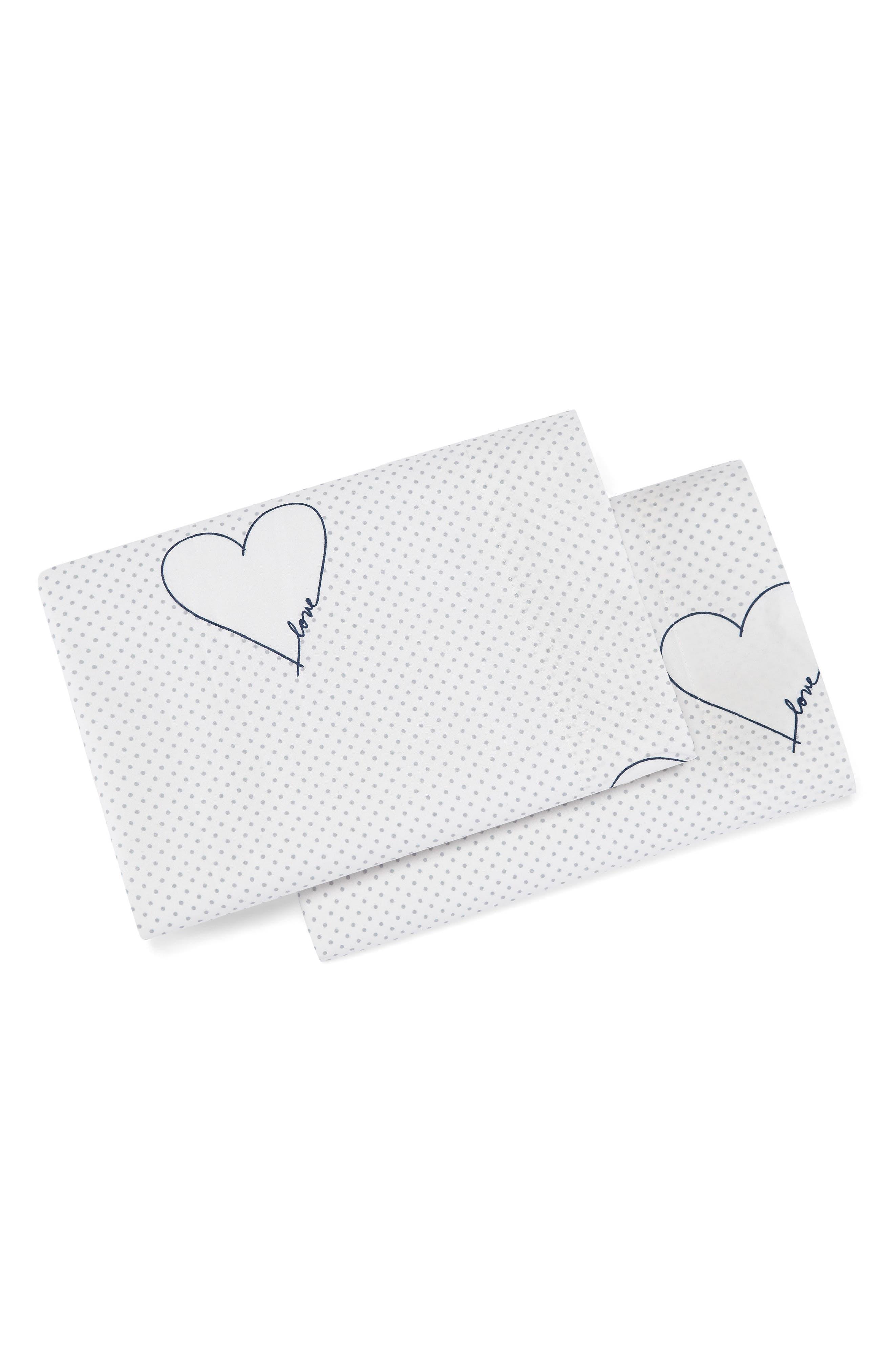 Love Hearts Pillowcases,                             Main thumbnail 1, color,                             DARK BLUE