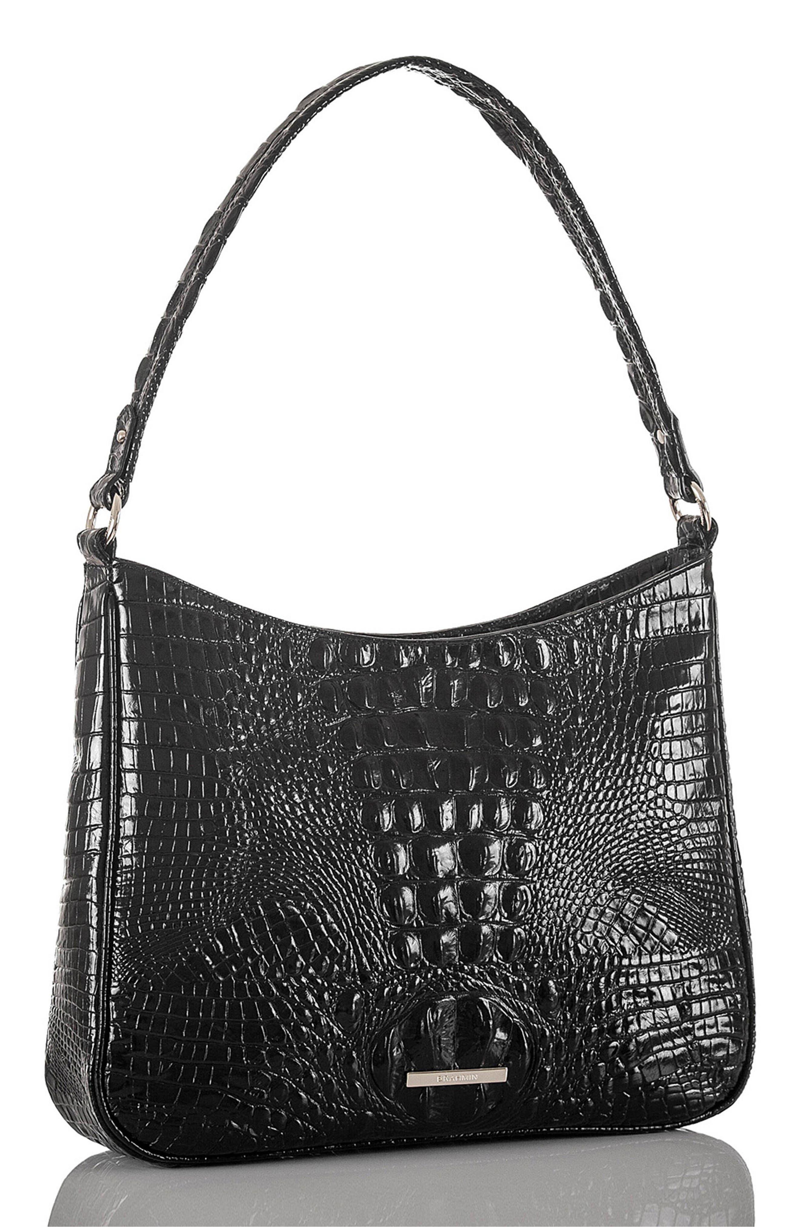 Noelle Croc Embossed Leather Hobo Bag,                             Alternate thumbnail 5, color,                             BLACK