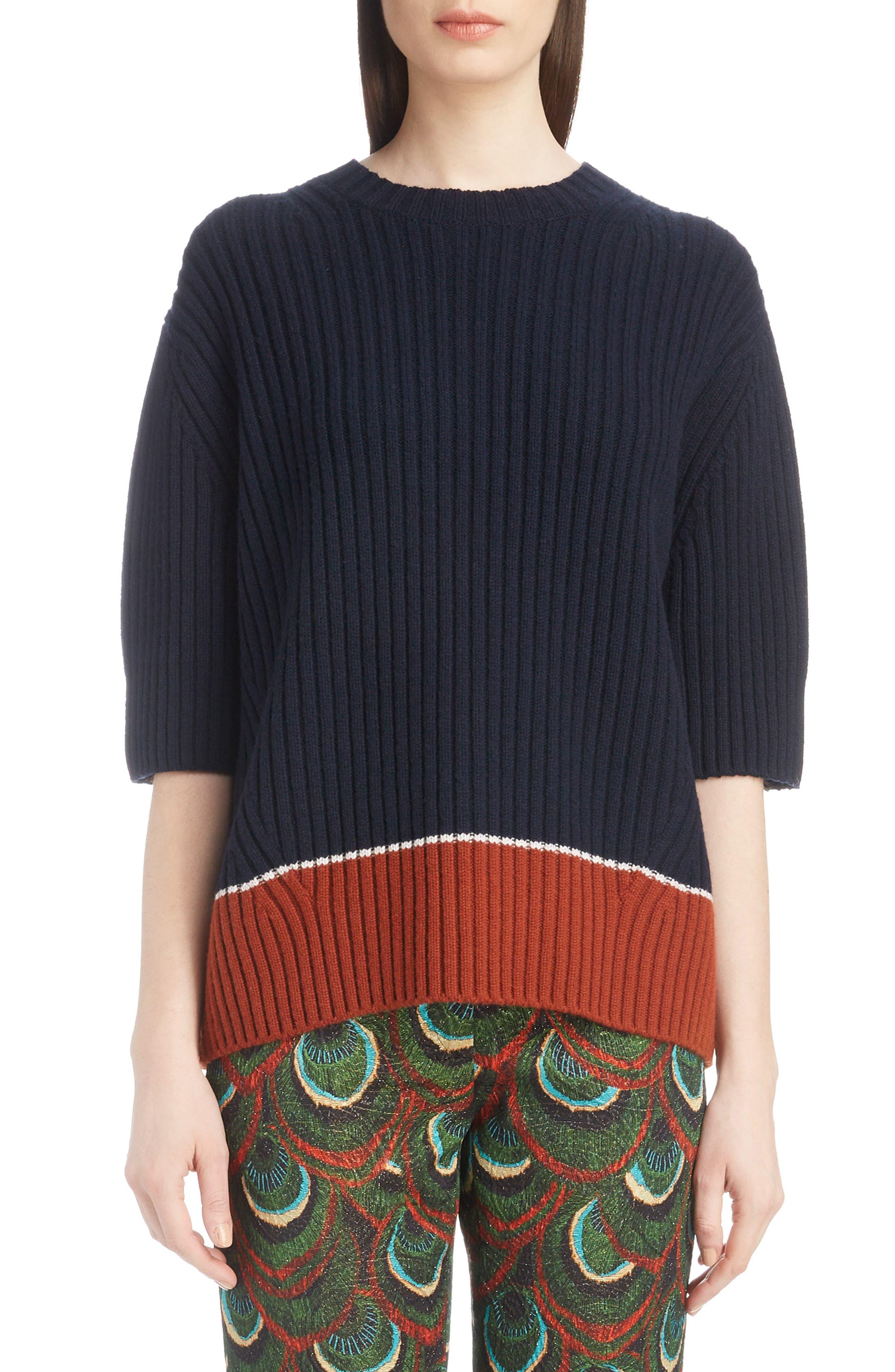 Dries Van Noten Contrast Hem Merino Wool & Cashmere Sweater, Blue