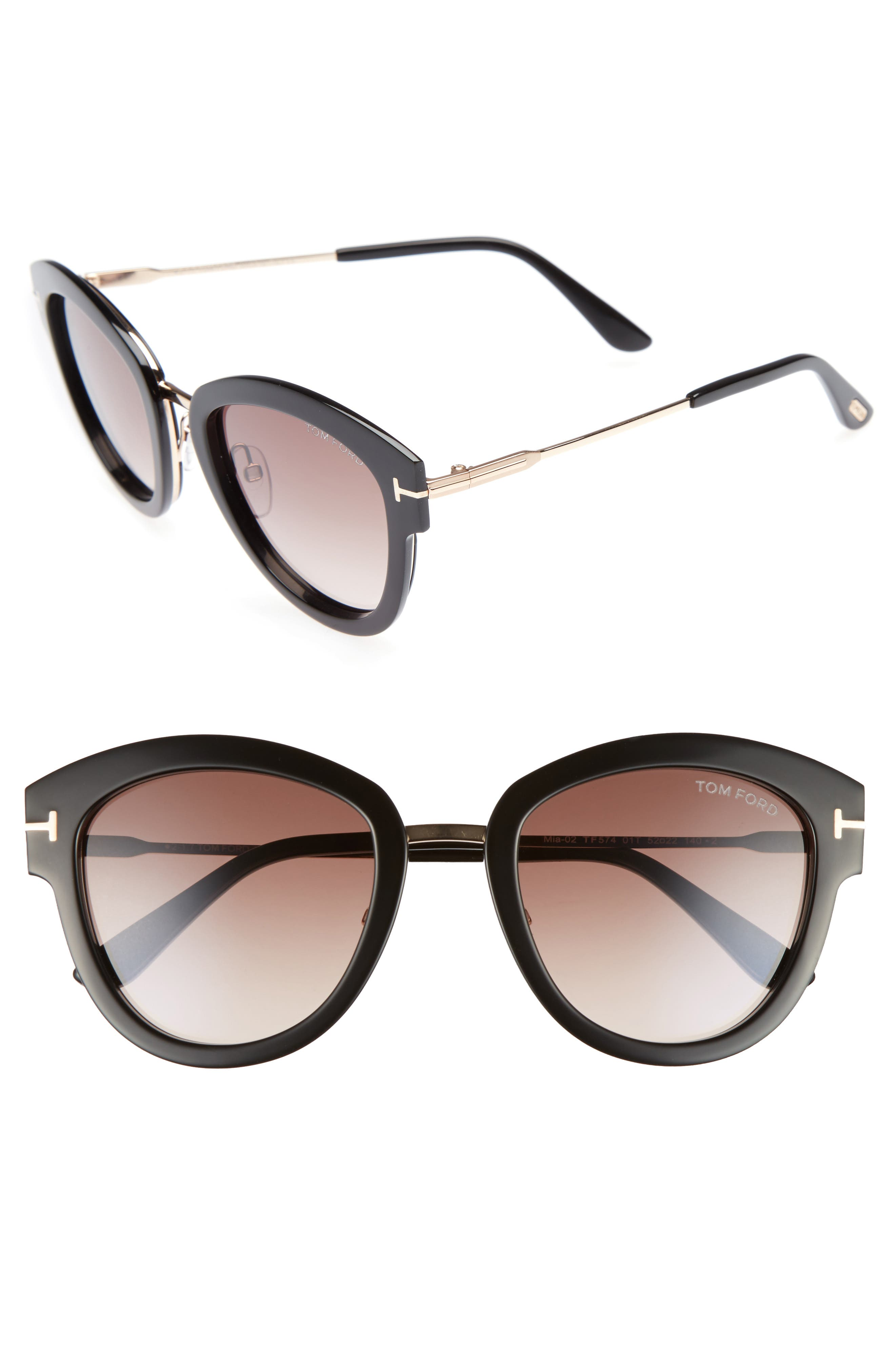Mia 55mm Cat Eye Sunglasses,                         Main,                         color, BLACK ACETATE/ ROSE GOLD