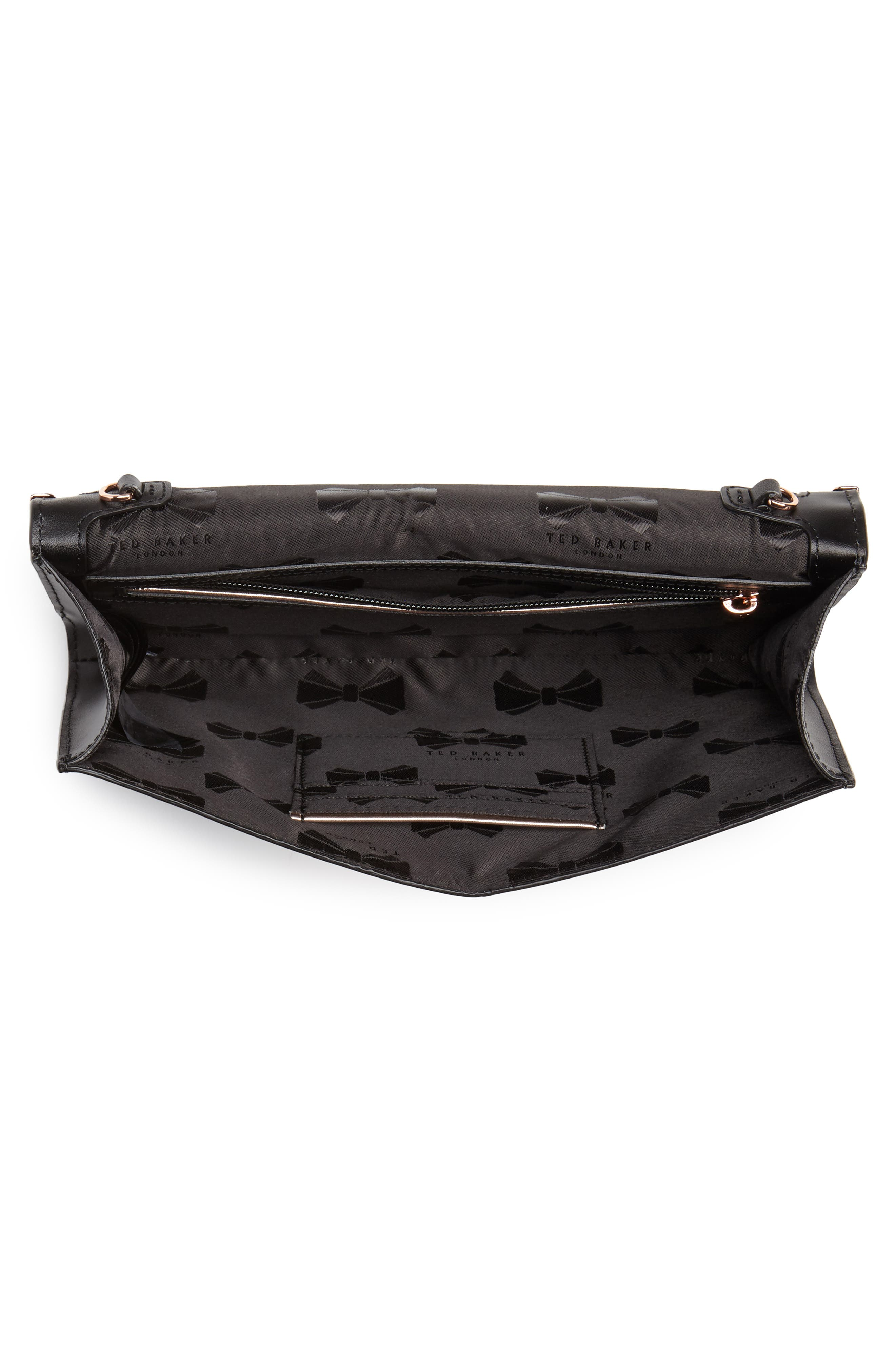 Bree Laser Cut Bow Leather Clutch,                             Alternate thumbnail 4, color,                             001