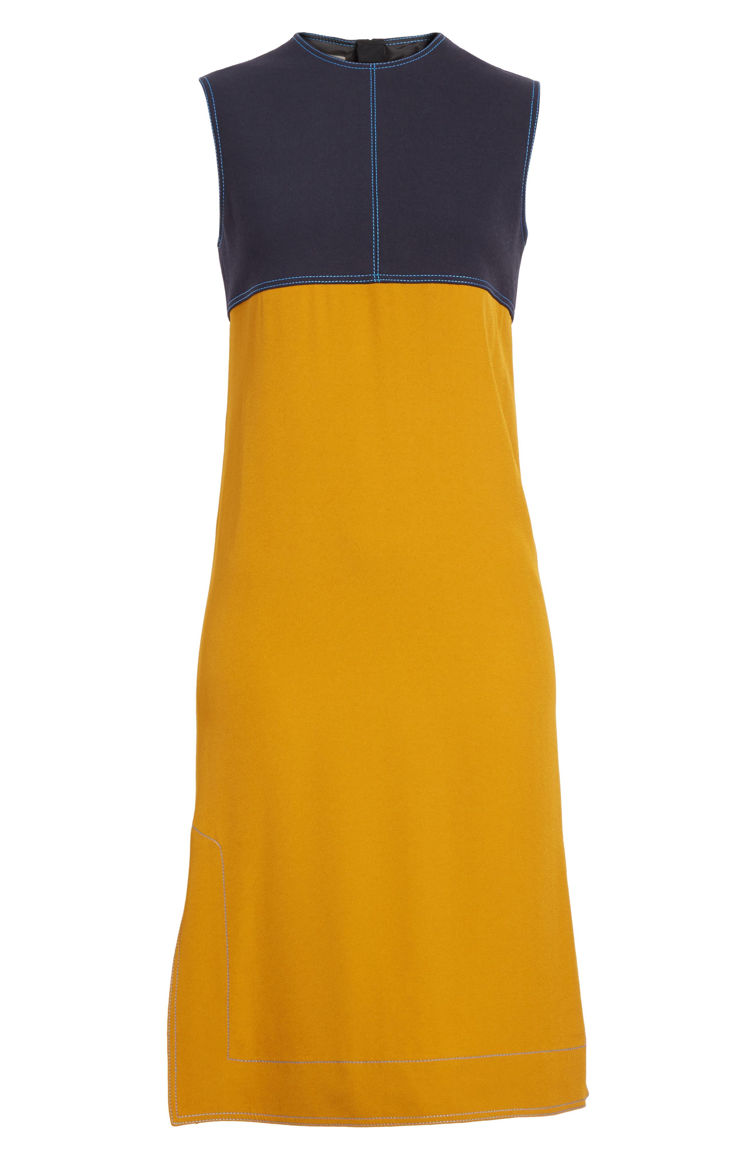 Colorblock Double Face Crepe Dress,                             Alternate thumbnail 6, color,                             009