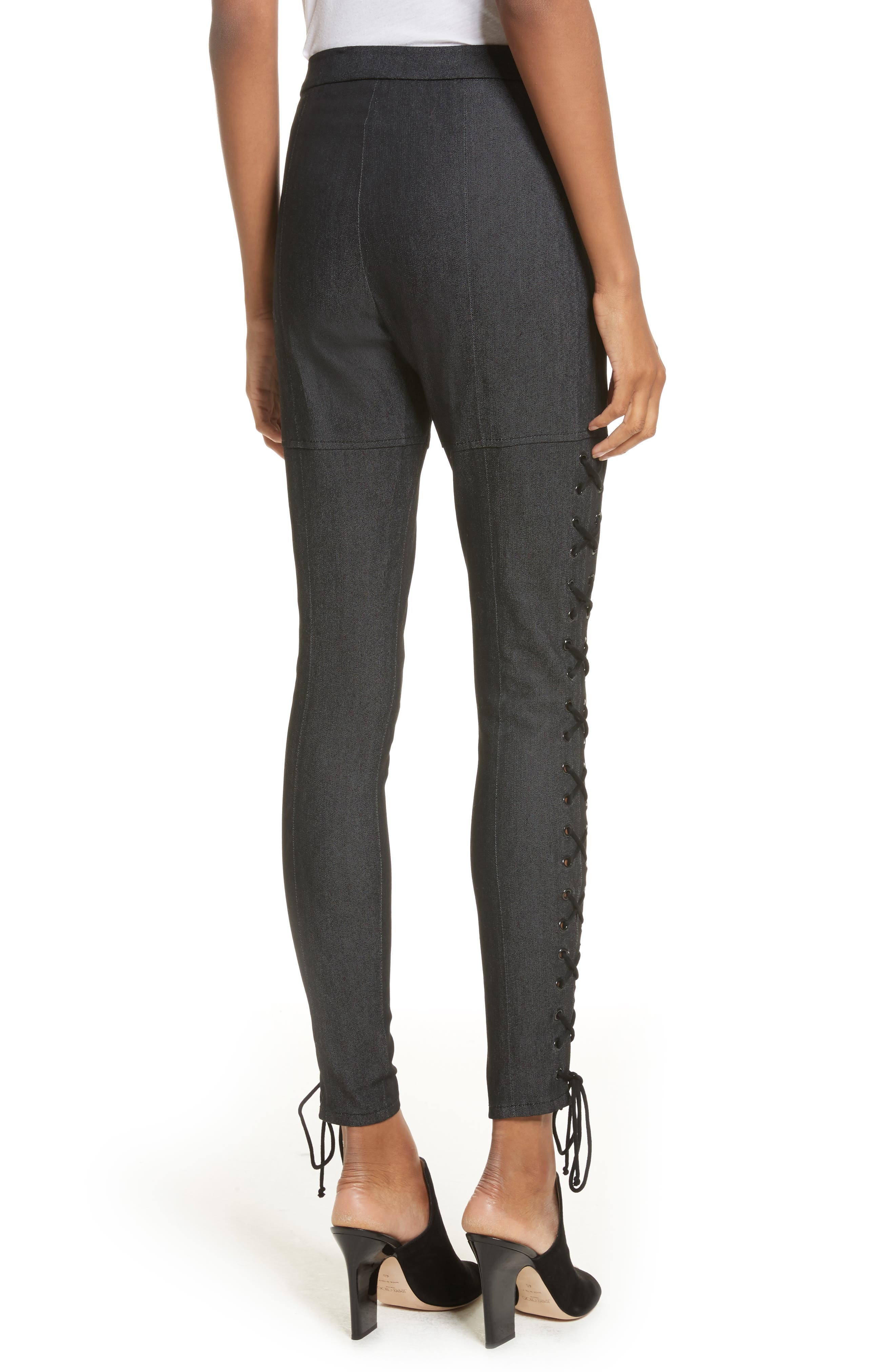 Kiran Lace-Up Stretch Denim Pants,                             Alternate thumbnail 2, color,                             001