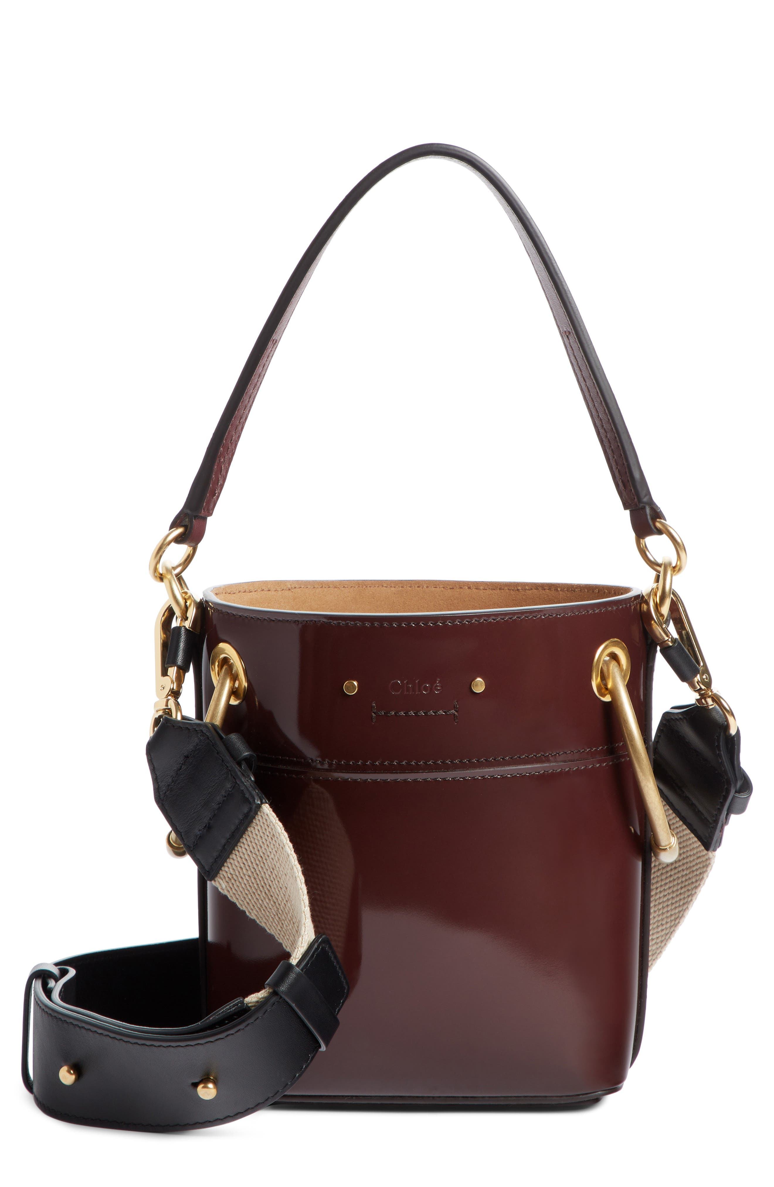 Small Roy Leather Bucket Bag,                             Main thumbnail 1, color,                             BURNT BROWN