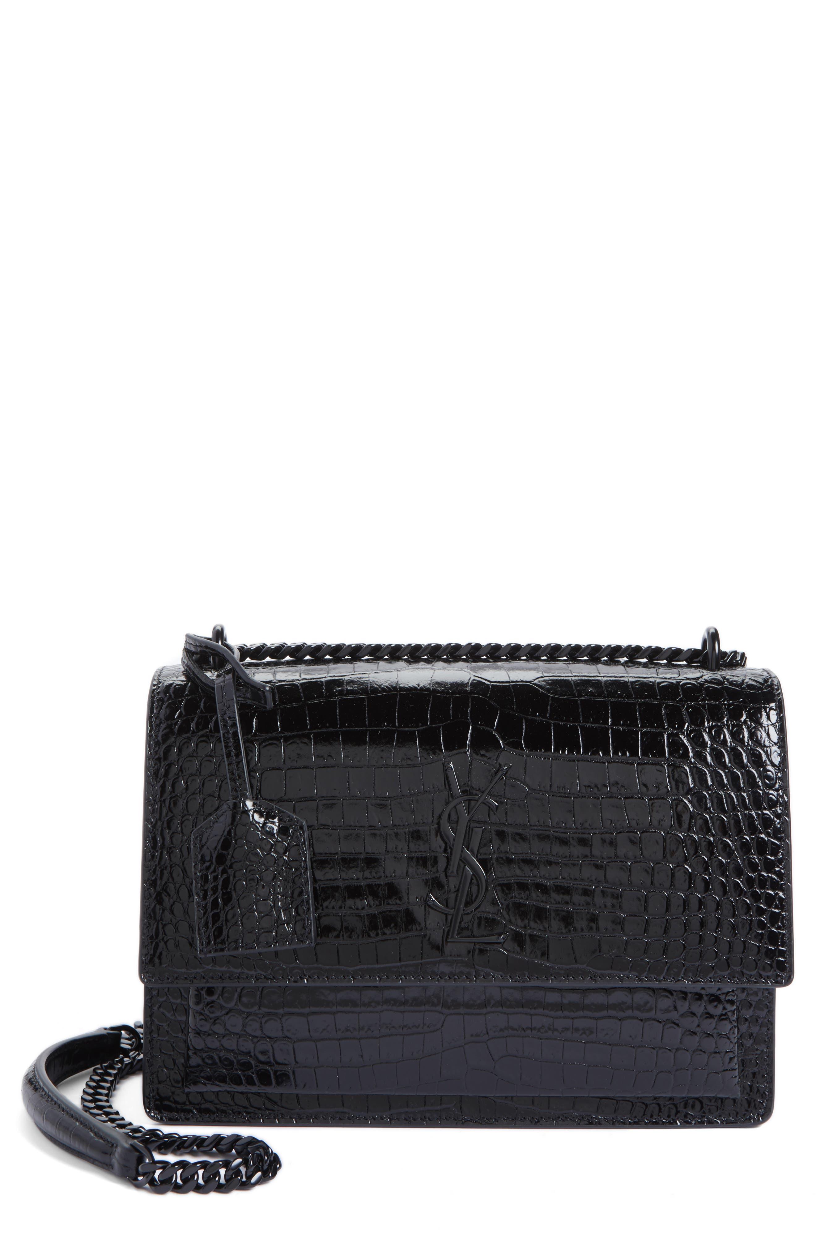 Medium Sunset Croc Embossed Leather Shoulder Bag,                             Main thumbnail 1, color,                             001