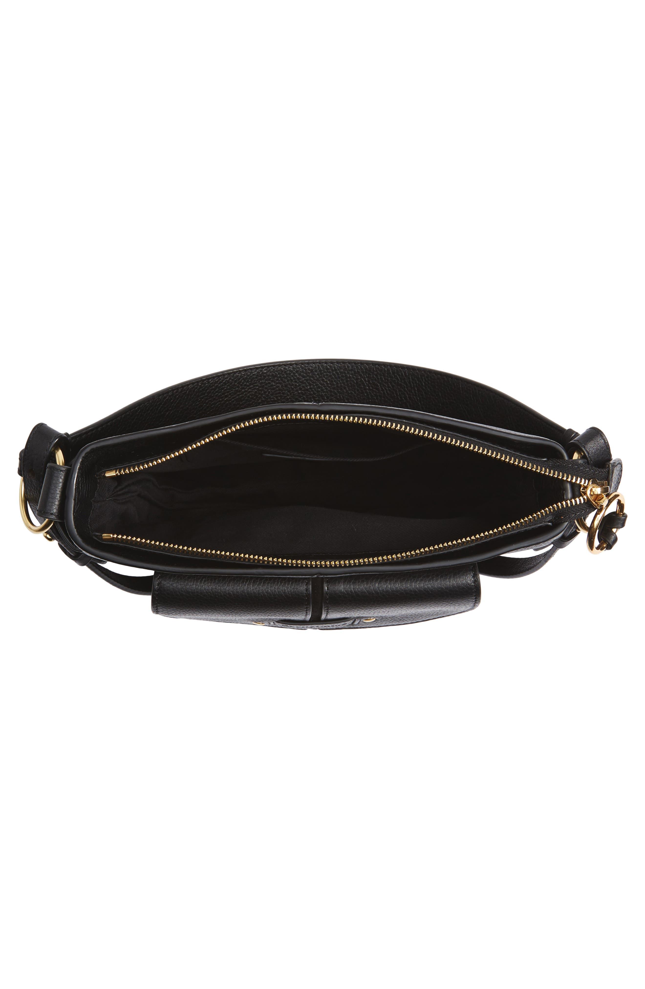 Leather Shoulder Bag,                             Alternate thumbnail 4, color,                             001