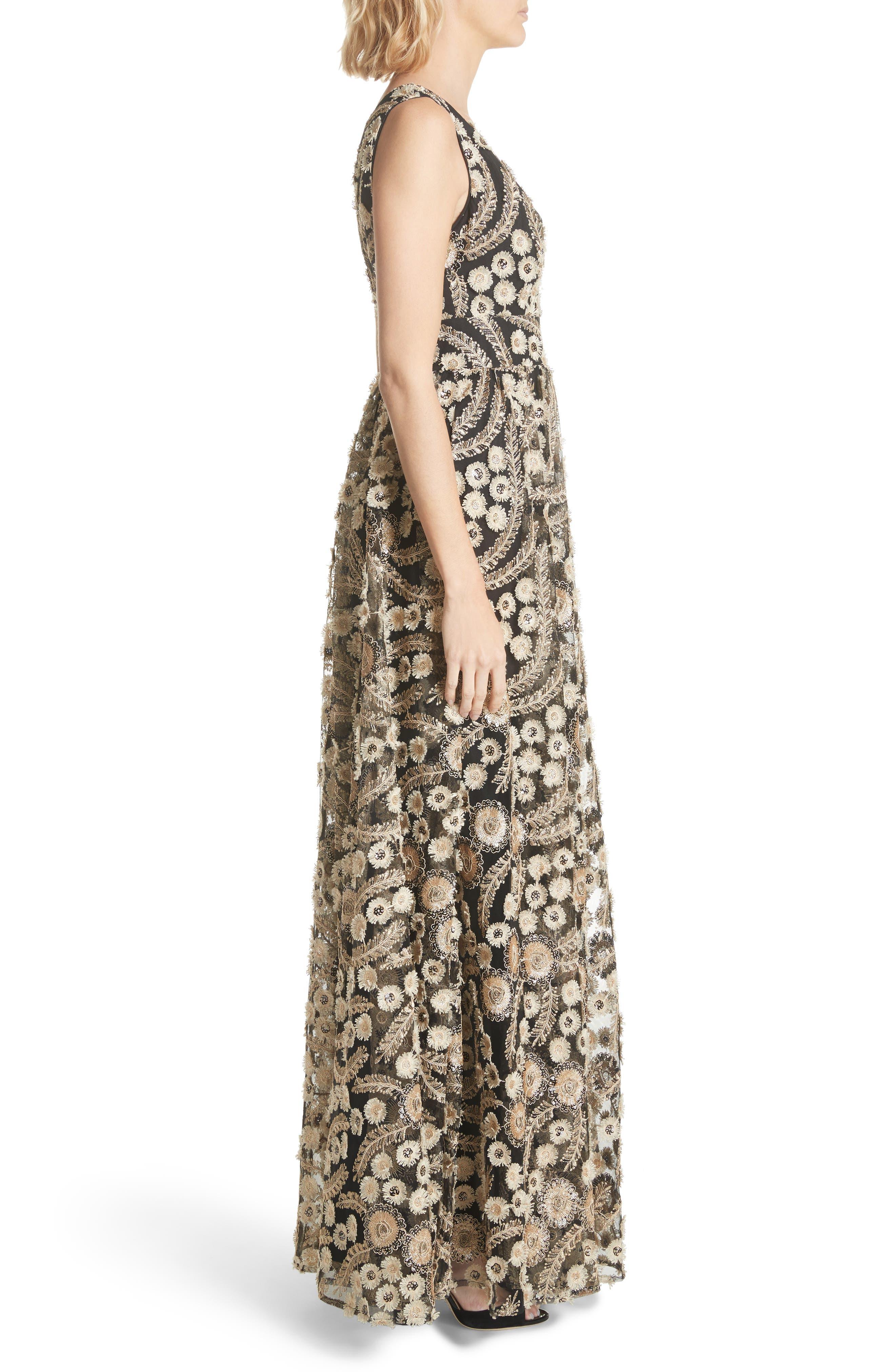 Embellished A-Line Maxi Dress,                             Alternate thumbnail 3, color,                             001