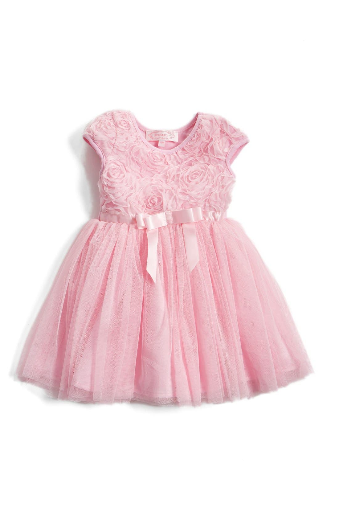 Short Sleeve Tulle Dress,                         Main,                         color, PINK