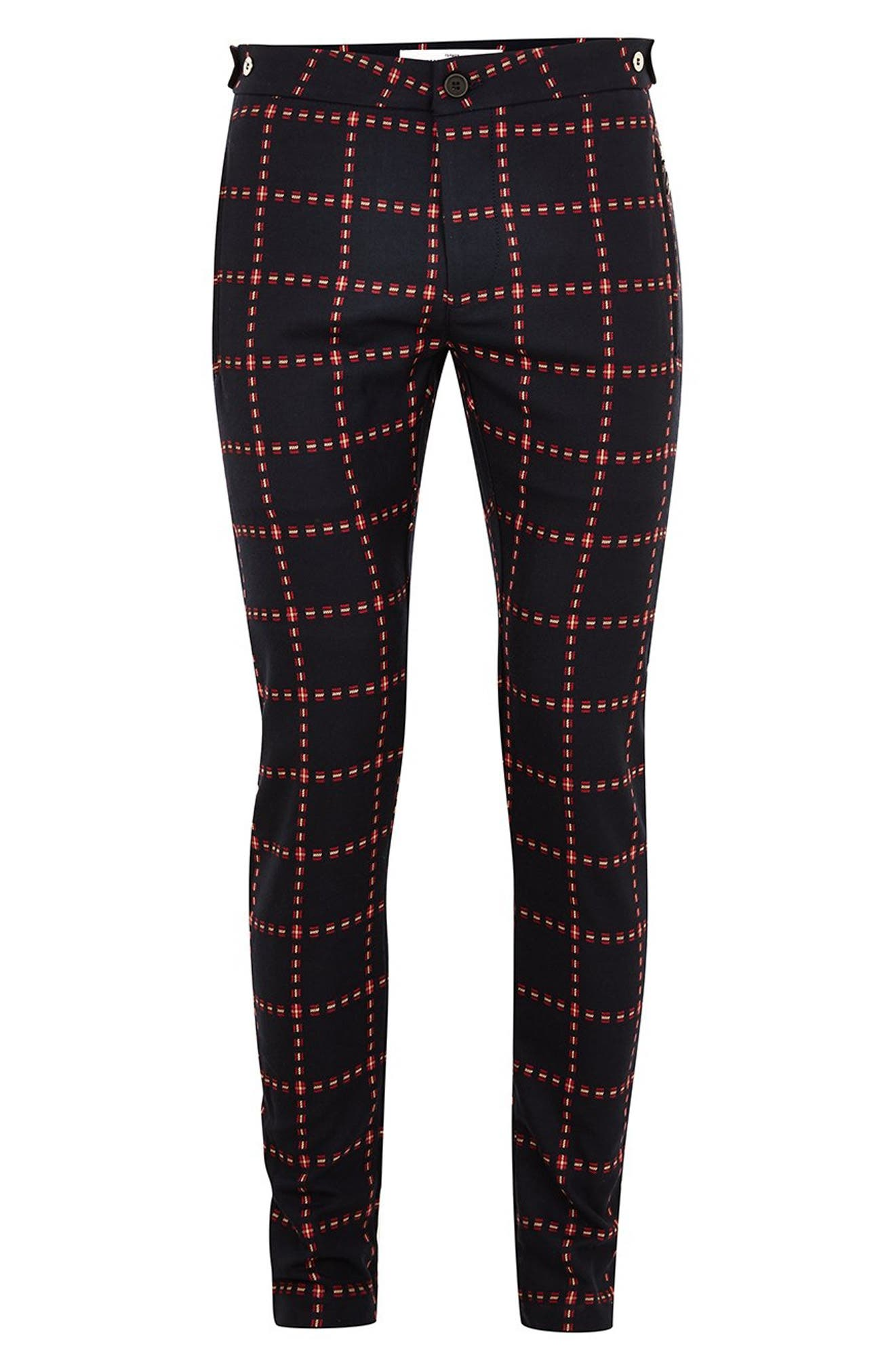 Crisscross Check Stretch Skinny Fit Trousers,                             Alternate thumbnail 4, color,                             NAVY MULTI