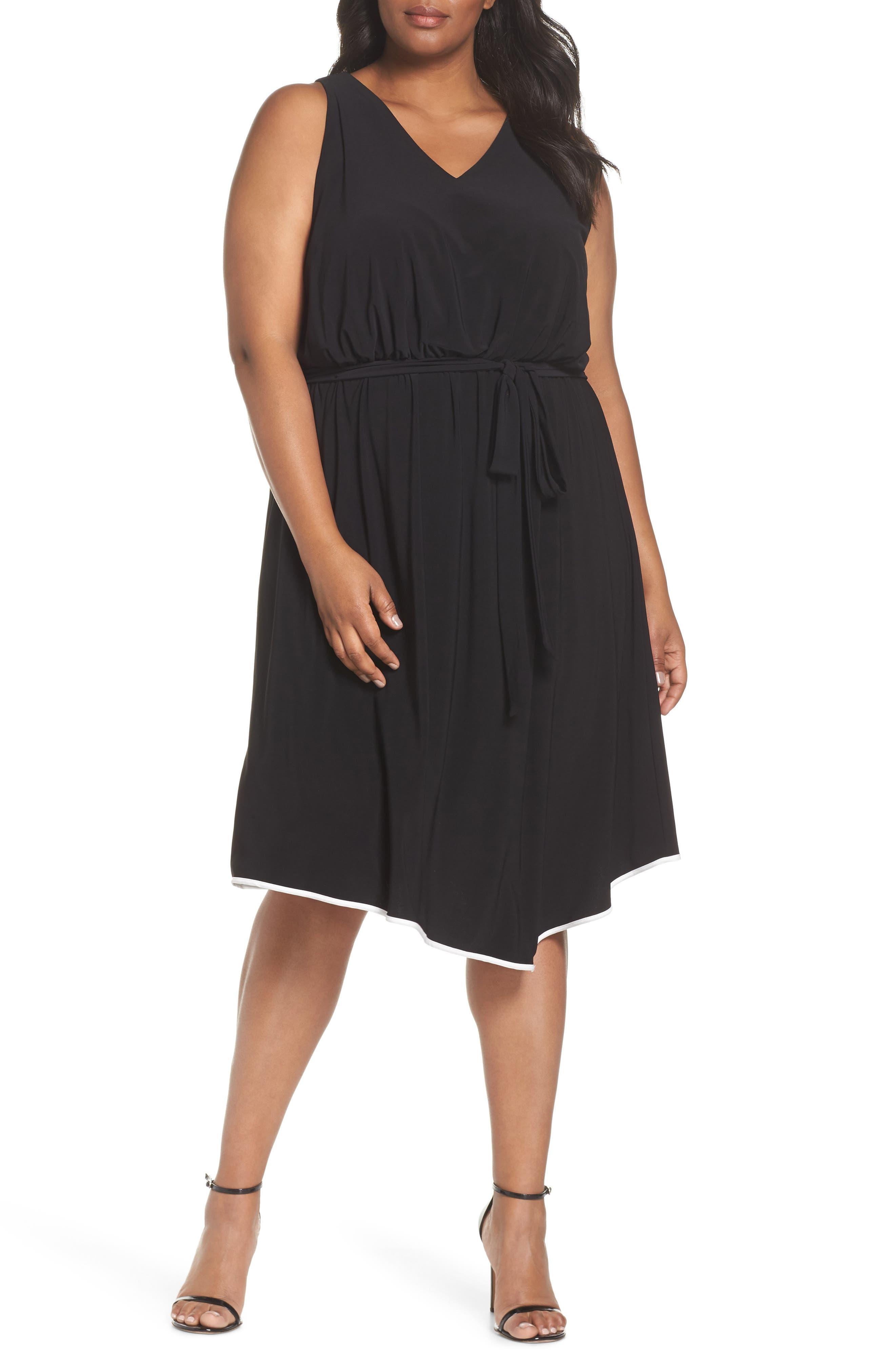 Plus Size Adrianna Papell Matte Jersey Handkerchief Hem Dress, Black