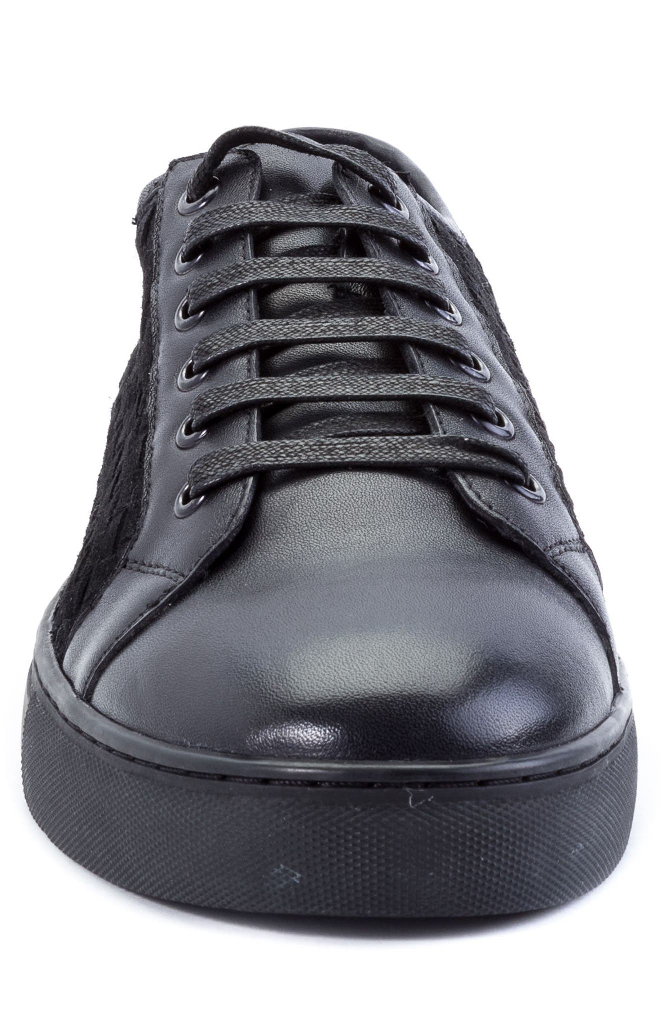Player Woven Low Top Sneaker,                             Alternate thumbnail 4, color,                             BLACK LEATHER/ SUEDE