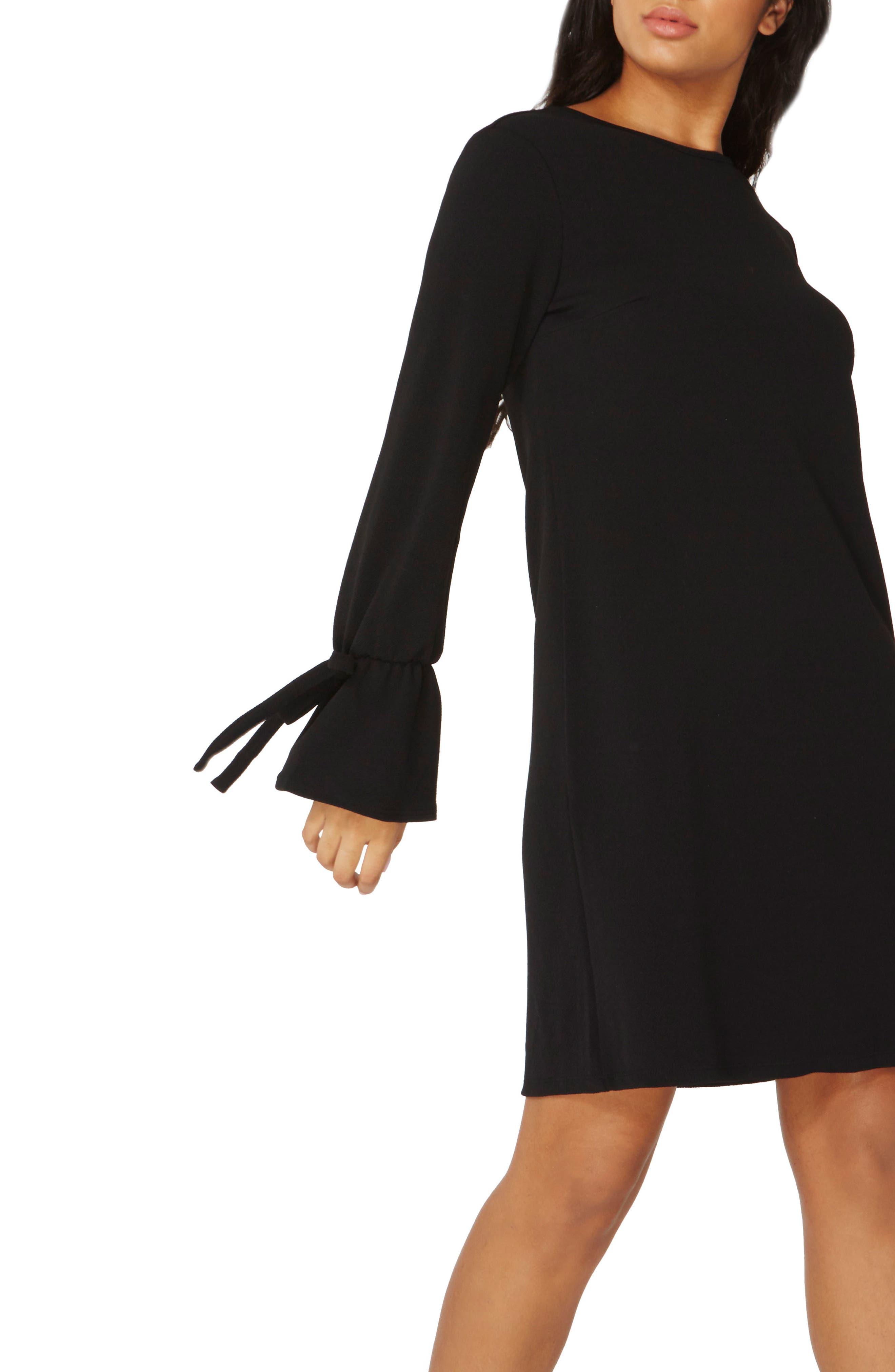 Tie Sleeve Shift Dress,                             Alternate thumbnail 3, color,
