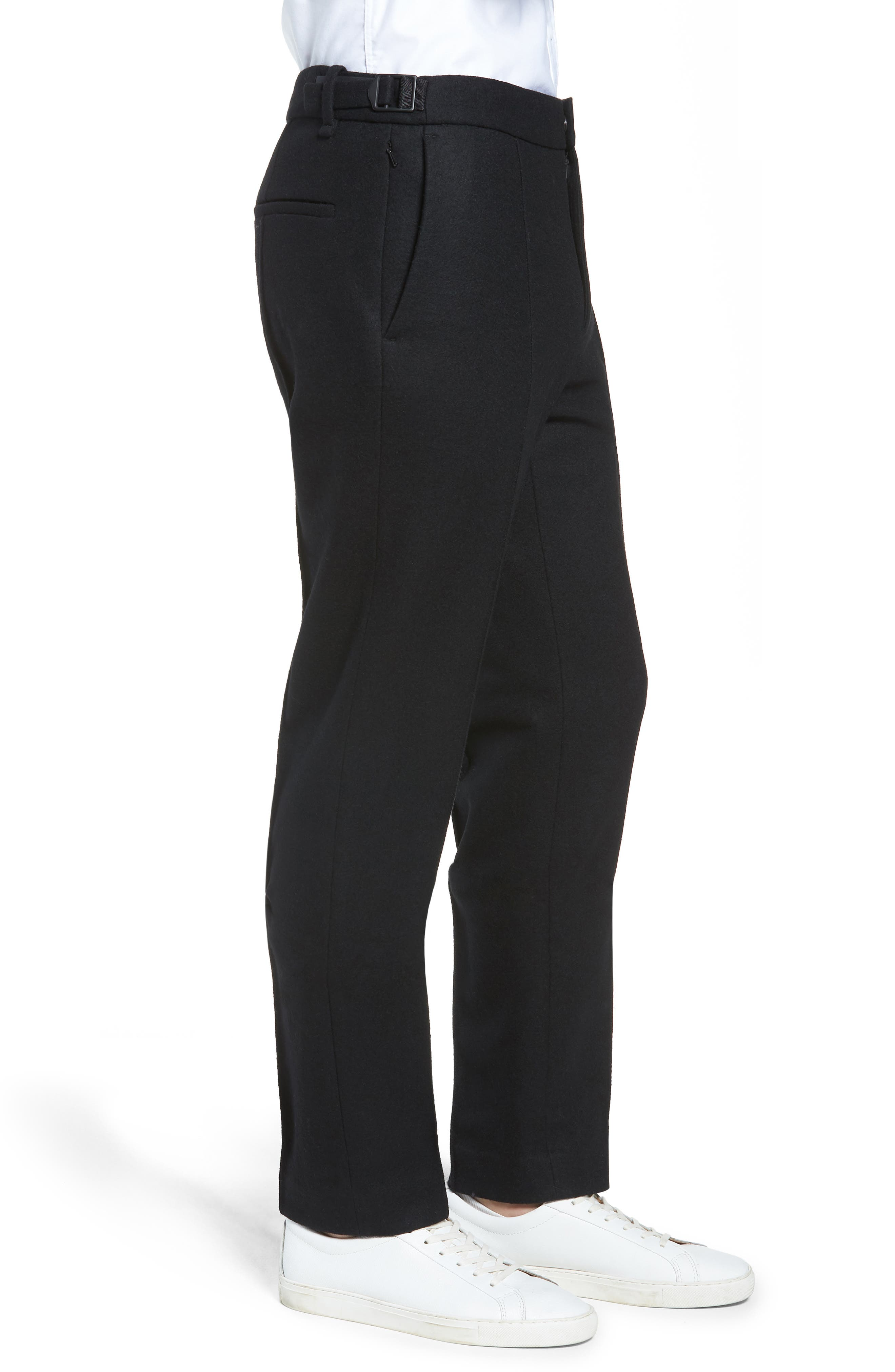 Sector Slim Fit Wool Jersey Pants,                             Alternate thumbnail 3, color,                             BLACK