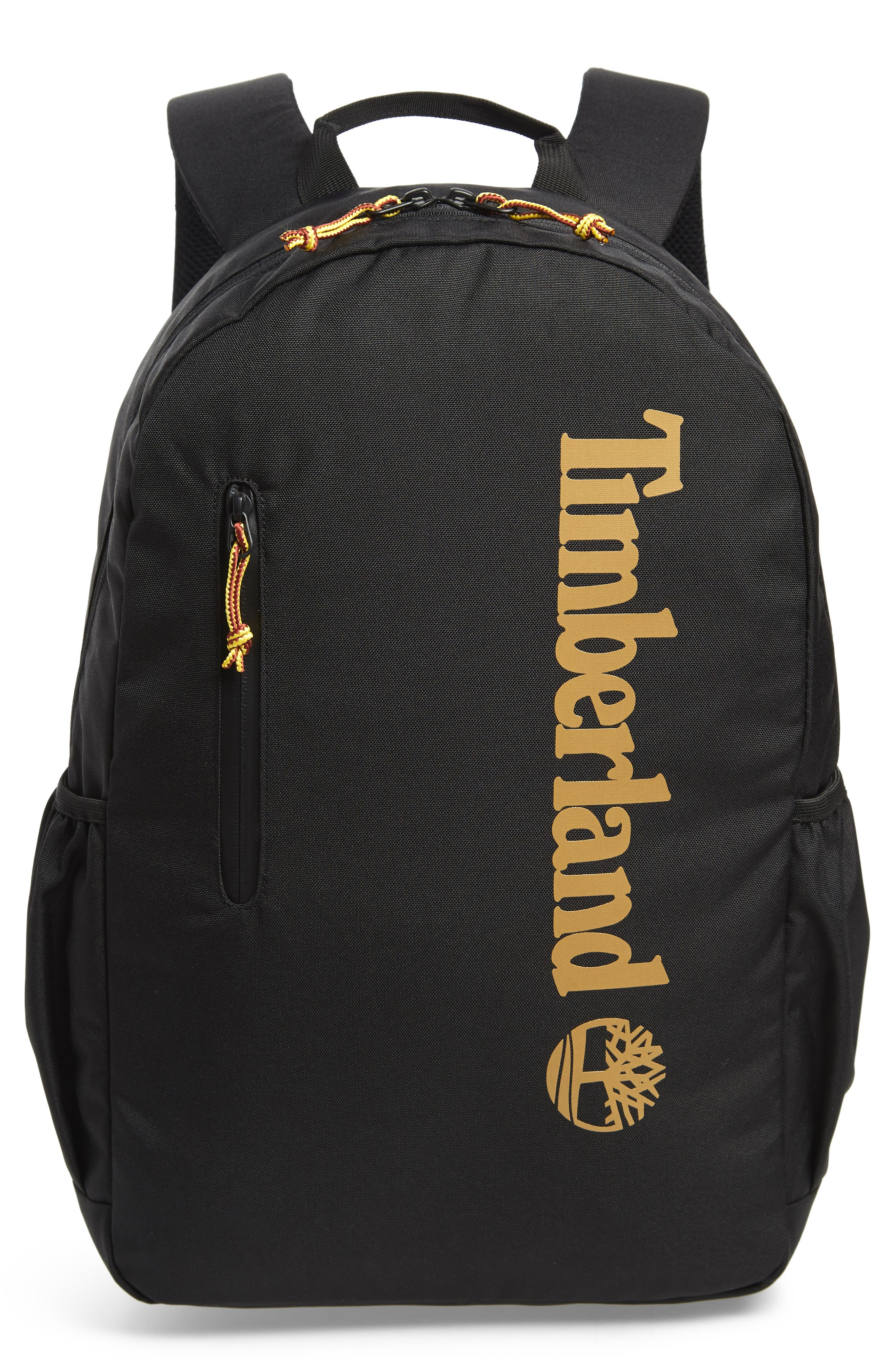 Linear Logo Water Resistant Backpack,                         Main,                         color, BLACK W/ WHEAT LOGO