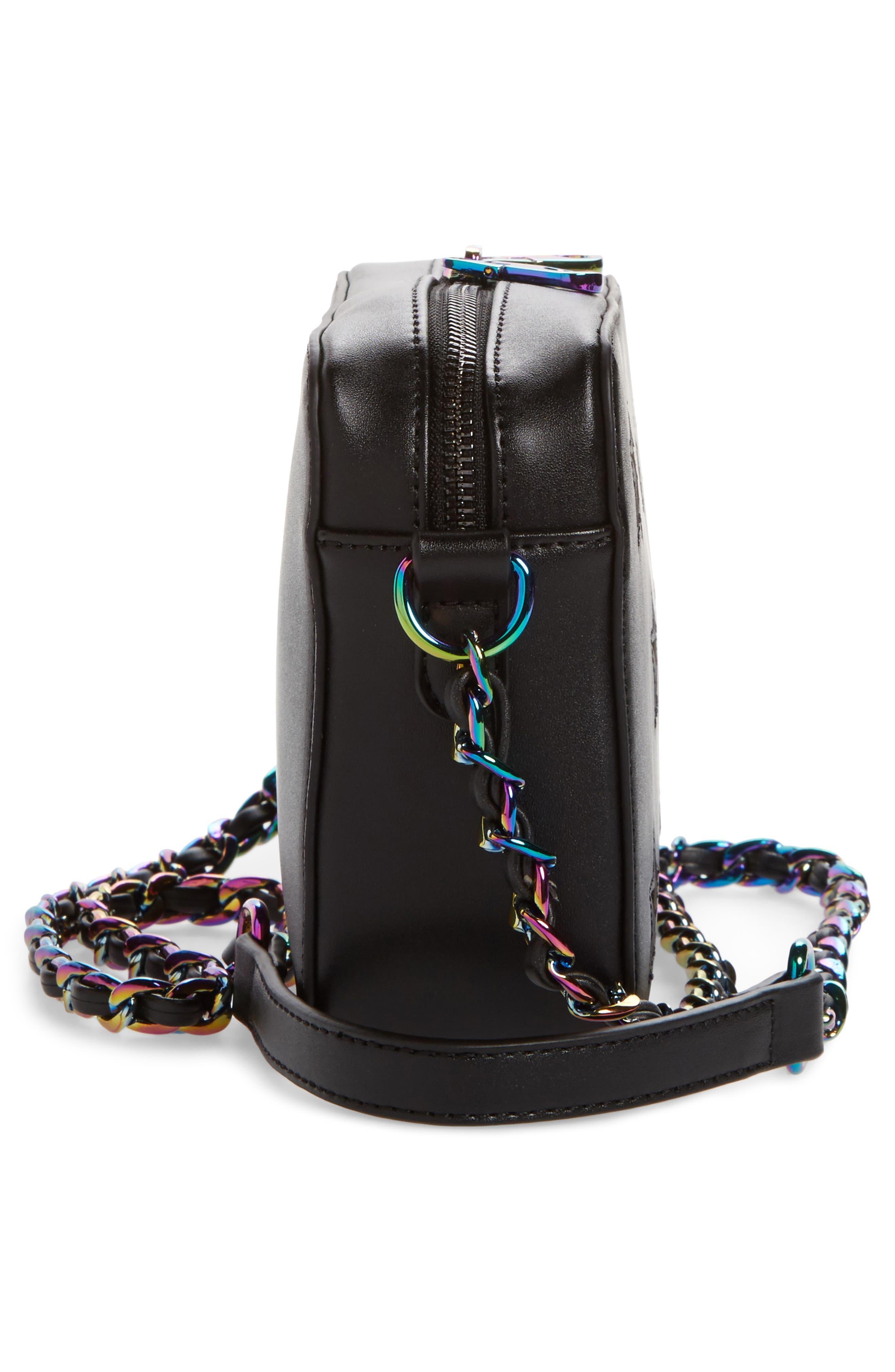 Bella Glitter Star Faux Leather Crossbody Bag,                             Alternate thumbnail 5, color,