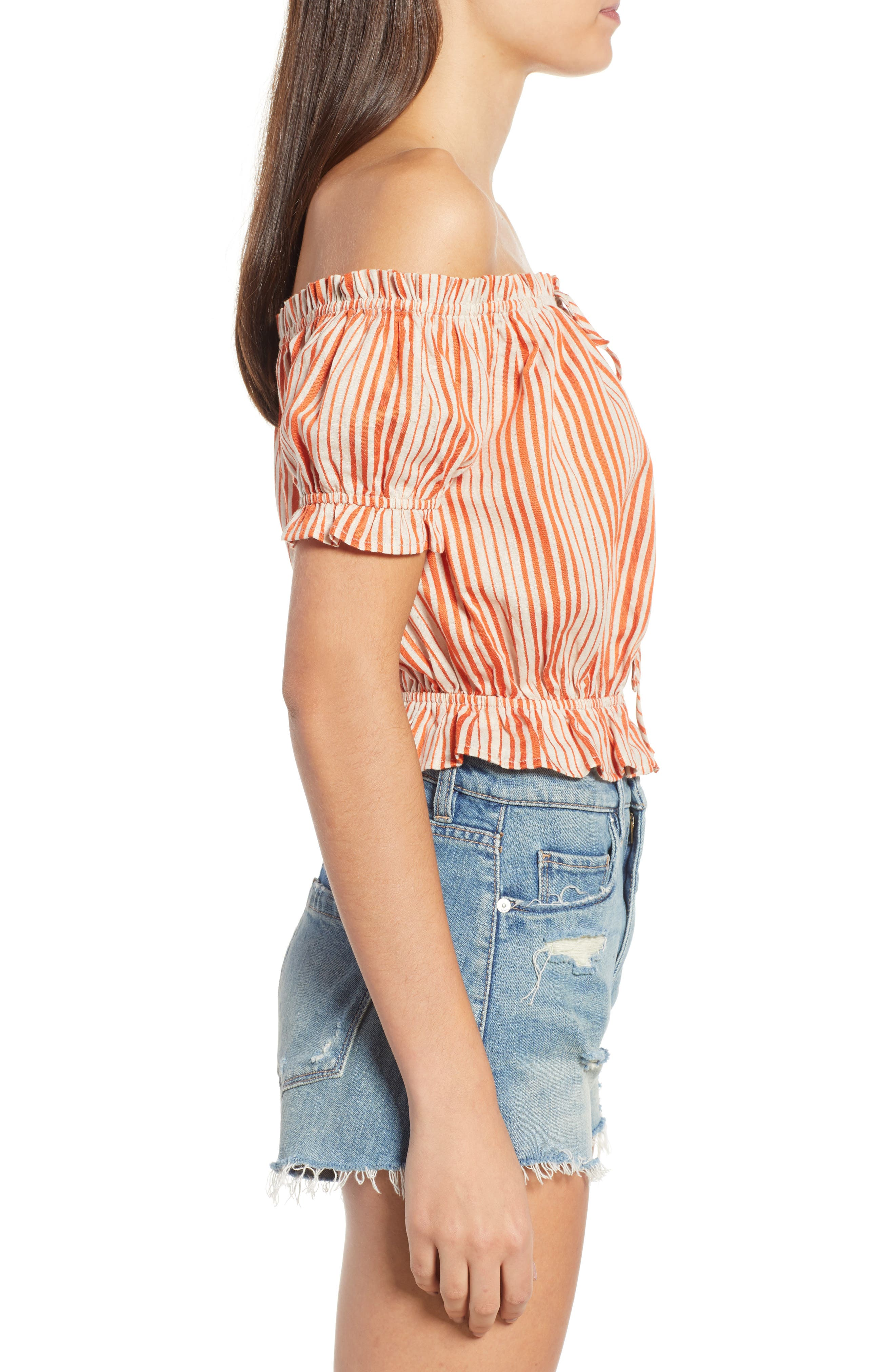 Stripe Off the Shoulder Linen & Cotton Top,                             Alternate thumbnail 3, color,                             800