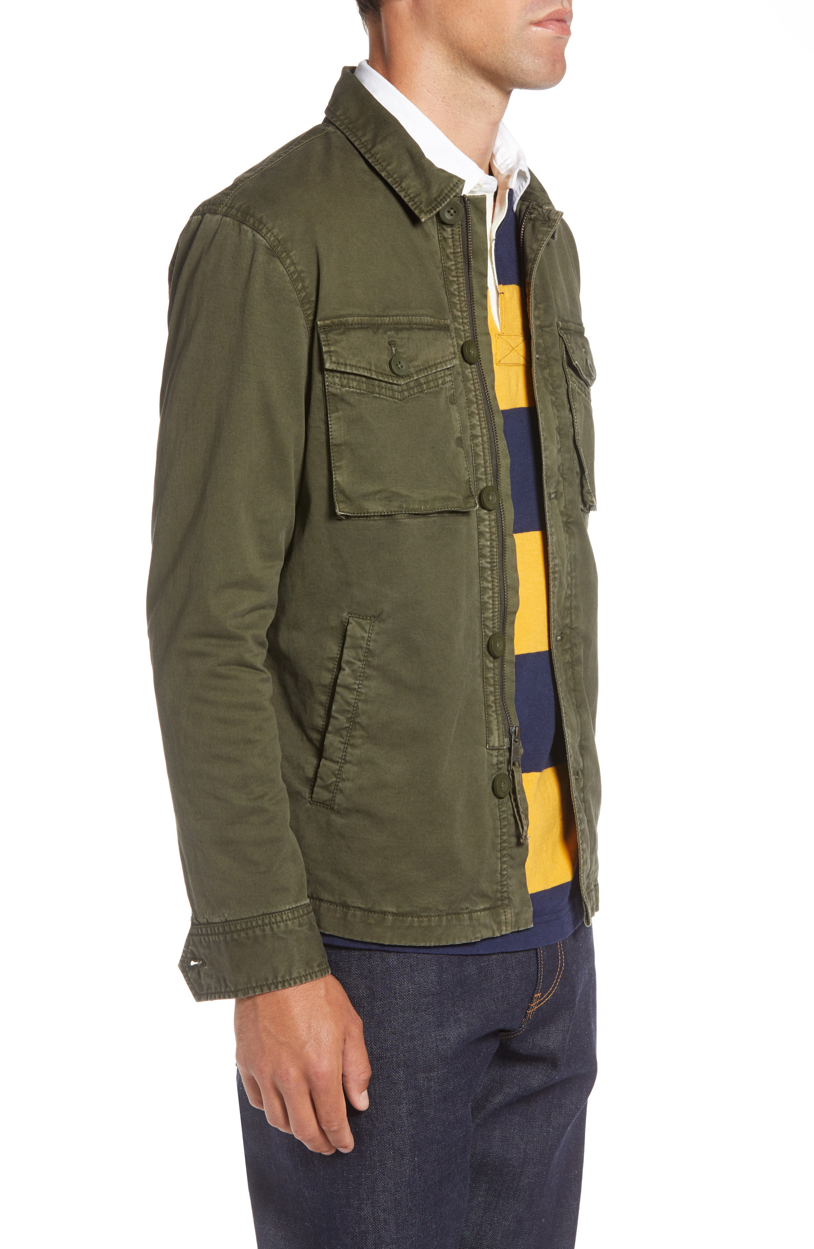 Regular Fit Military Jacket,                             Alternate thumbnail 3, color,                             GREEN FOREST