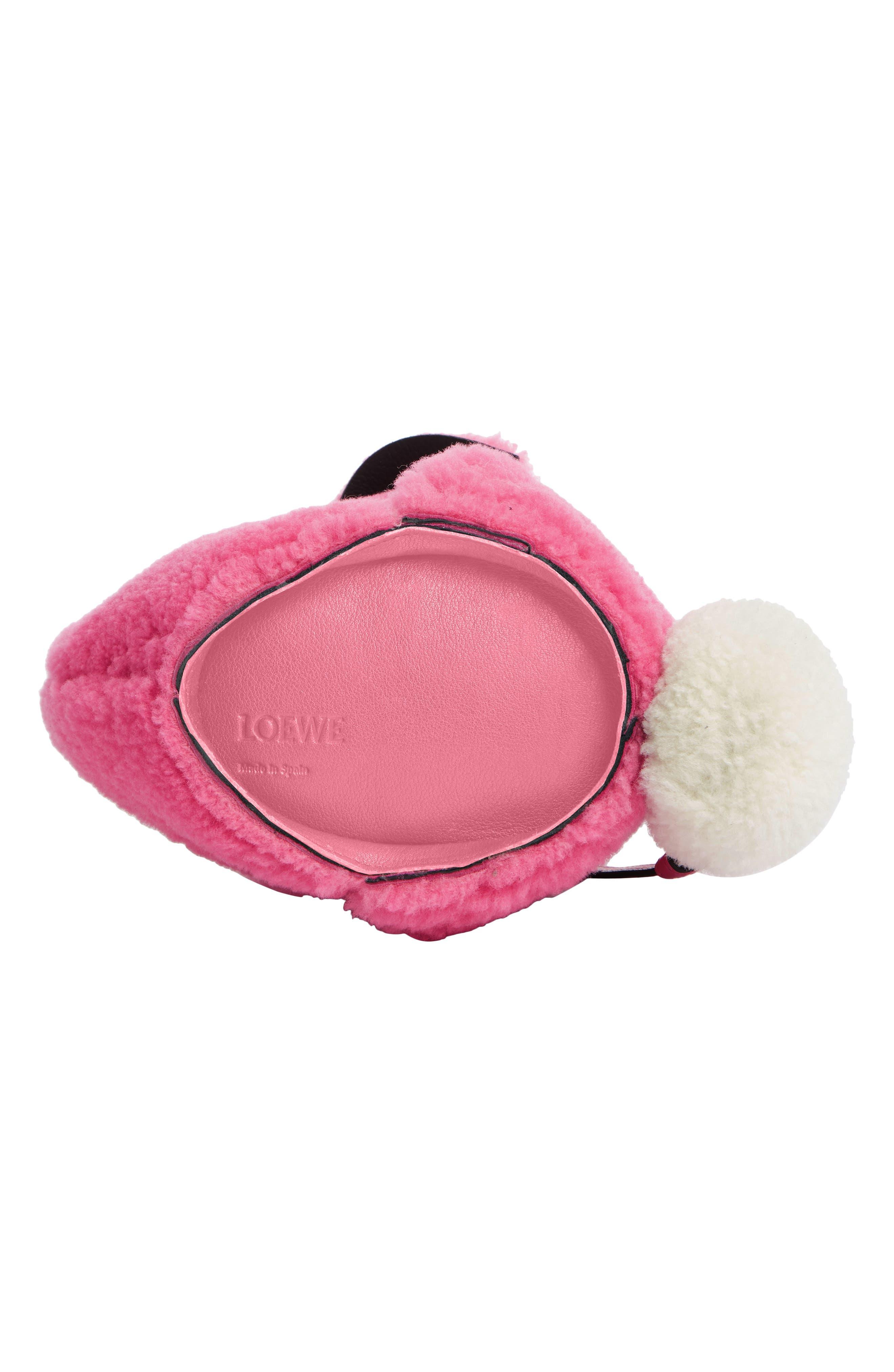 Mini Bunny Fuzzy Genuine Shearling Crossbody Bag,                             Alternate thumbnail 5, color,                             WILD ROSE