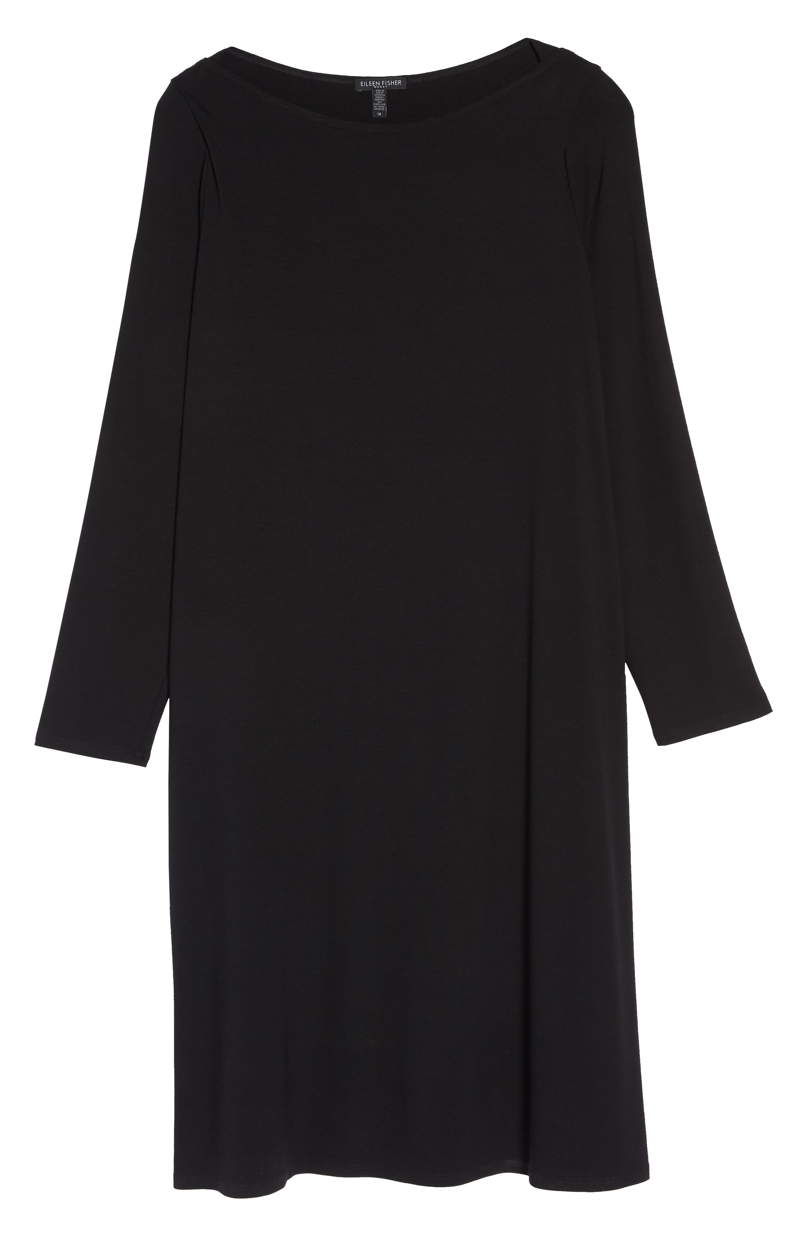 Bateau Neck Jersey Shift Dress,                             Alternate thumbnail 7, color,                             002
