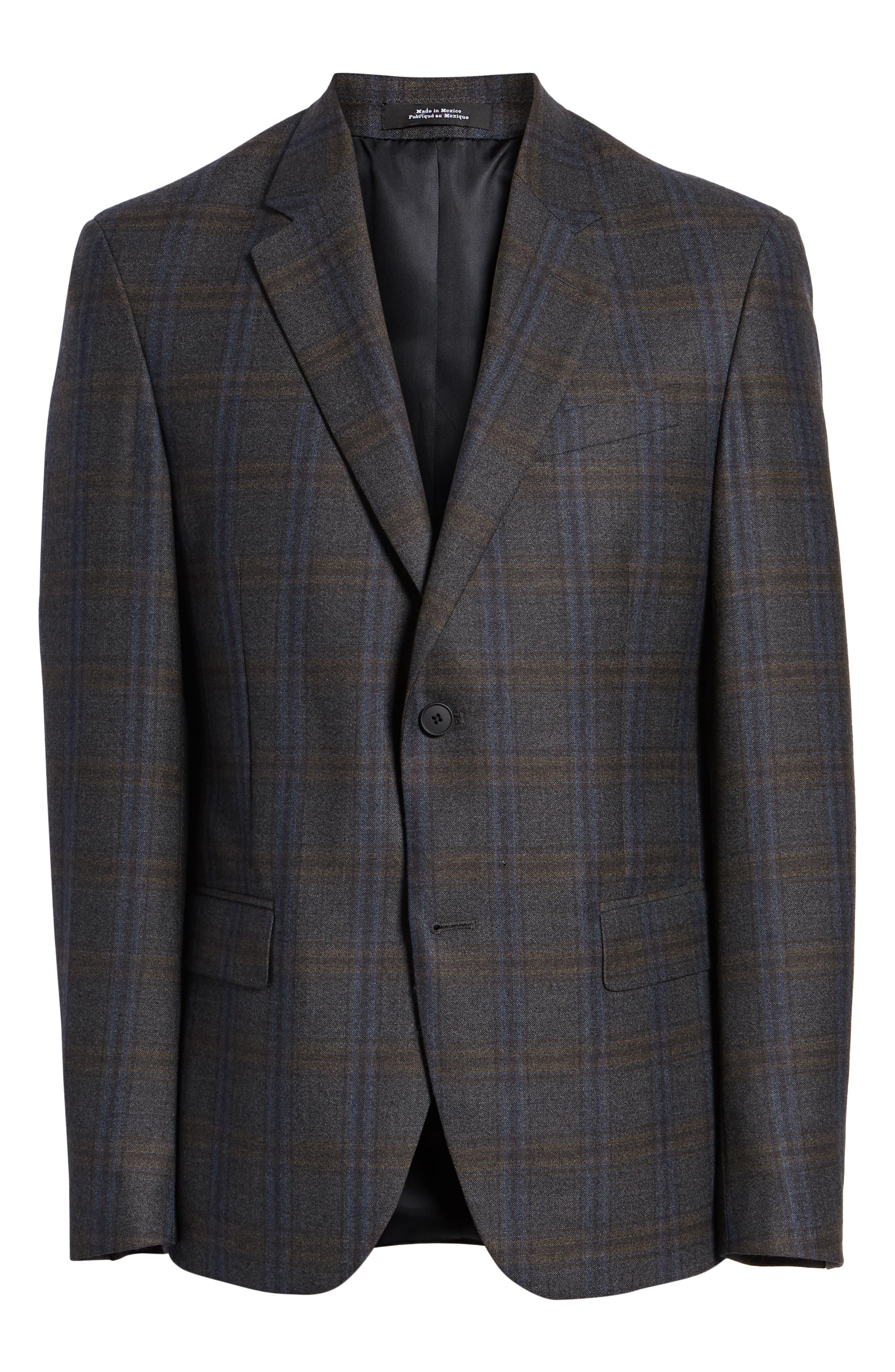 NORDSTROM MEN'S SHOP,                             Trim Fit Plaid Wool Sport Coat,                             Alternate thumbnail 6, color,                             010