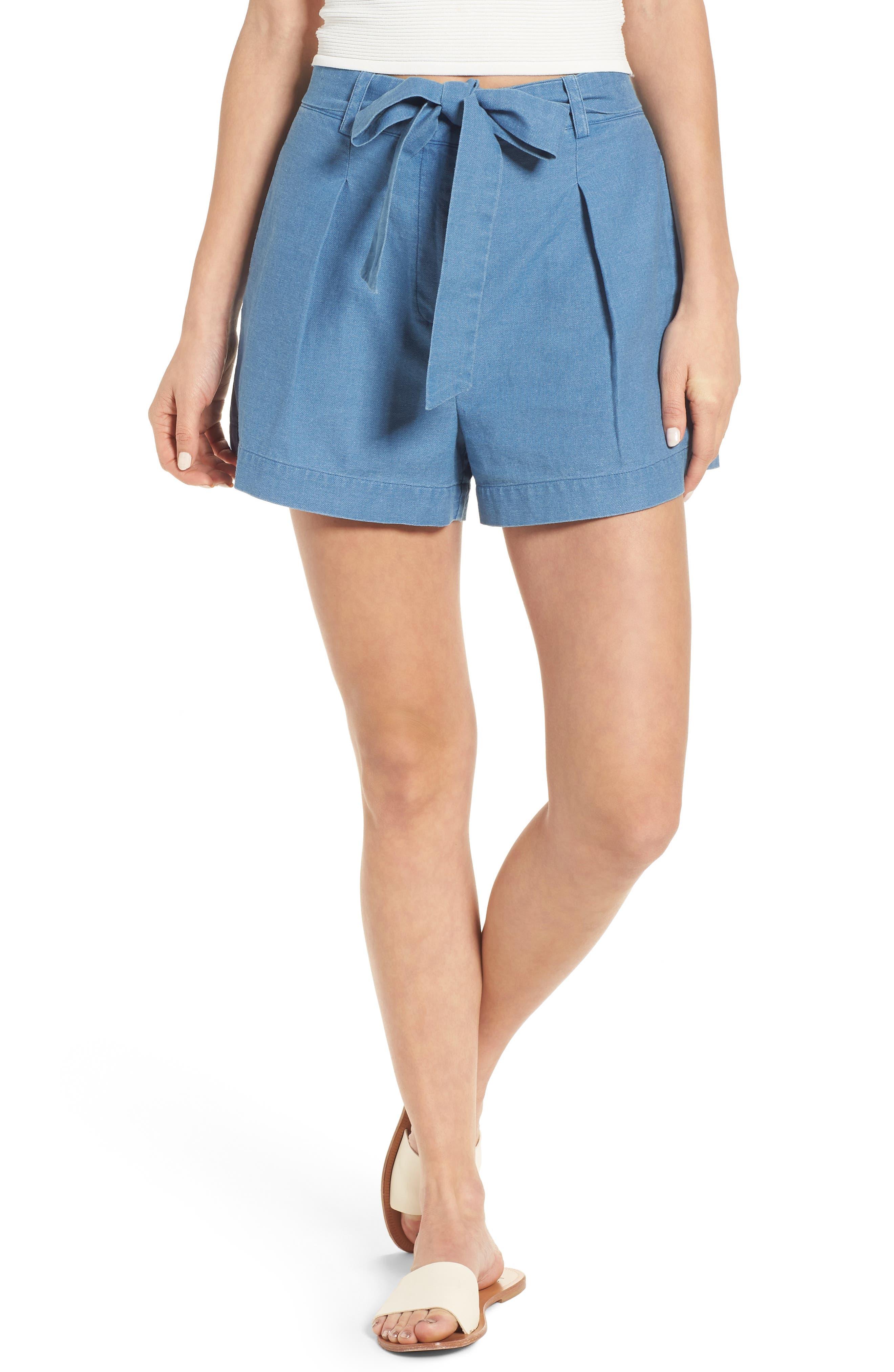 Tie Front Chambray Shorts,                             Main thumbnail 1, color,                             400