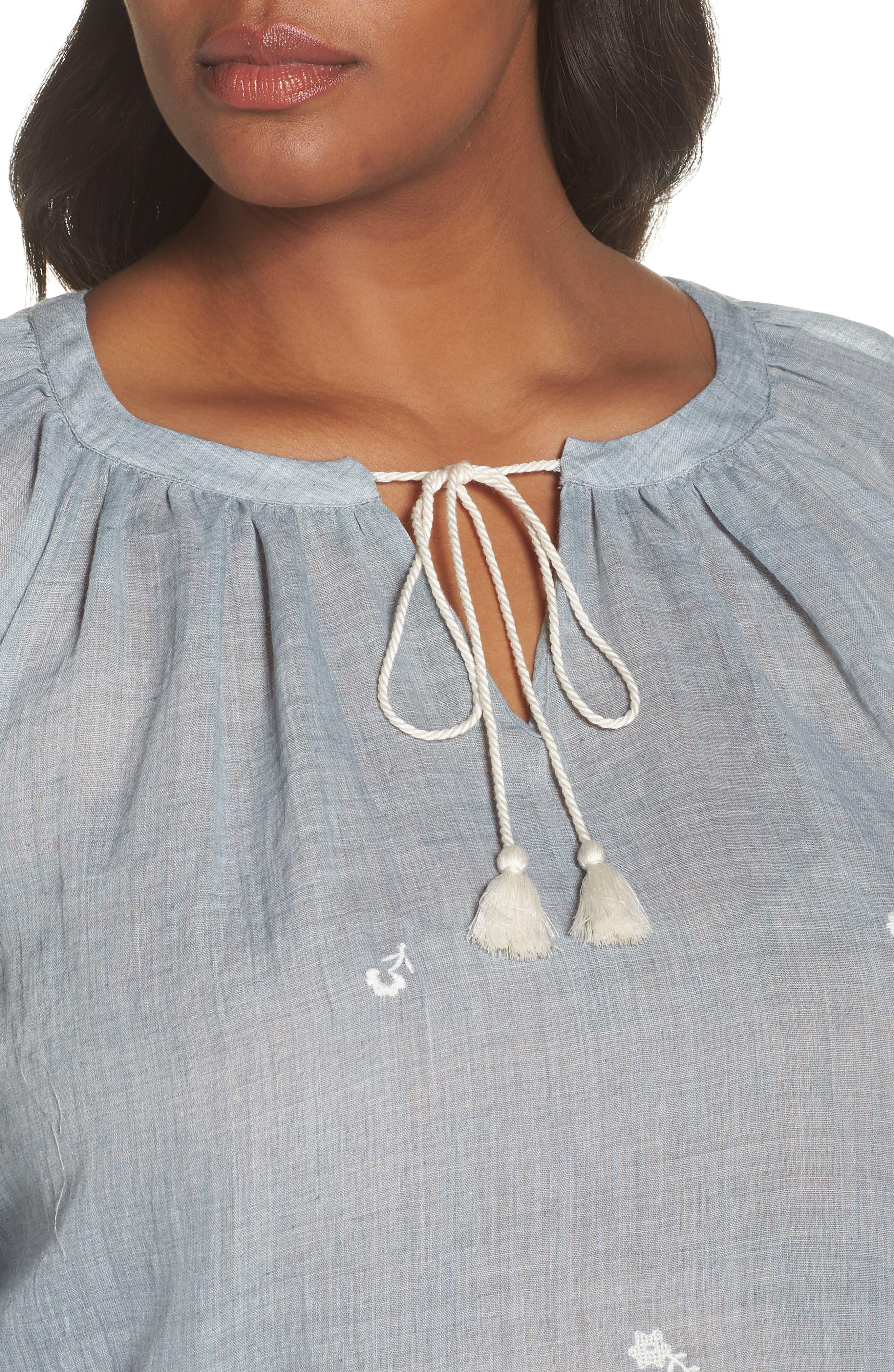 Melange Needlepoint Gauze Peasant Blouse,                             Alternate thumbnail 4, color,                             INDIGO NIGHT HTHR